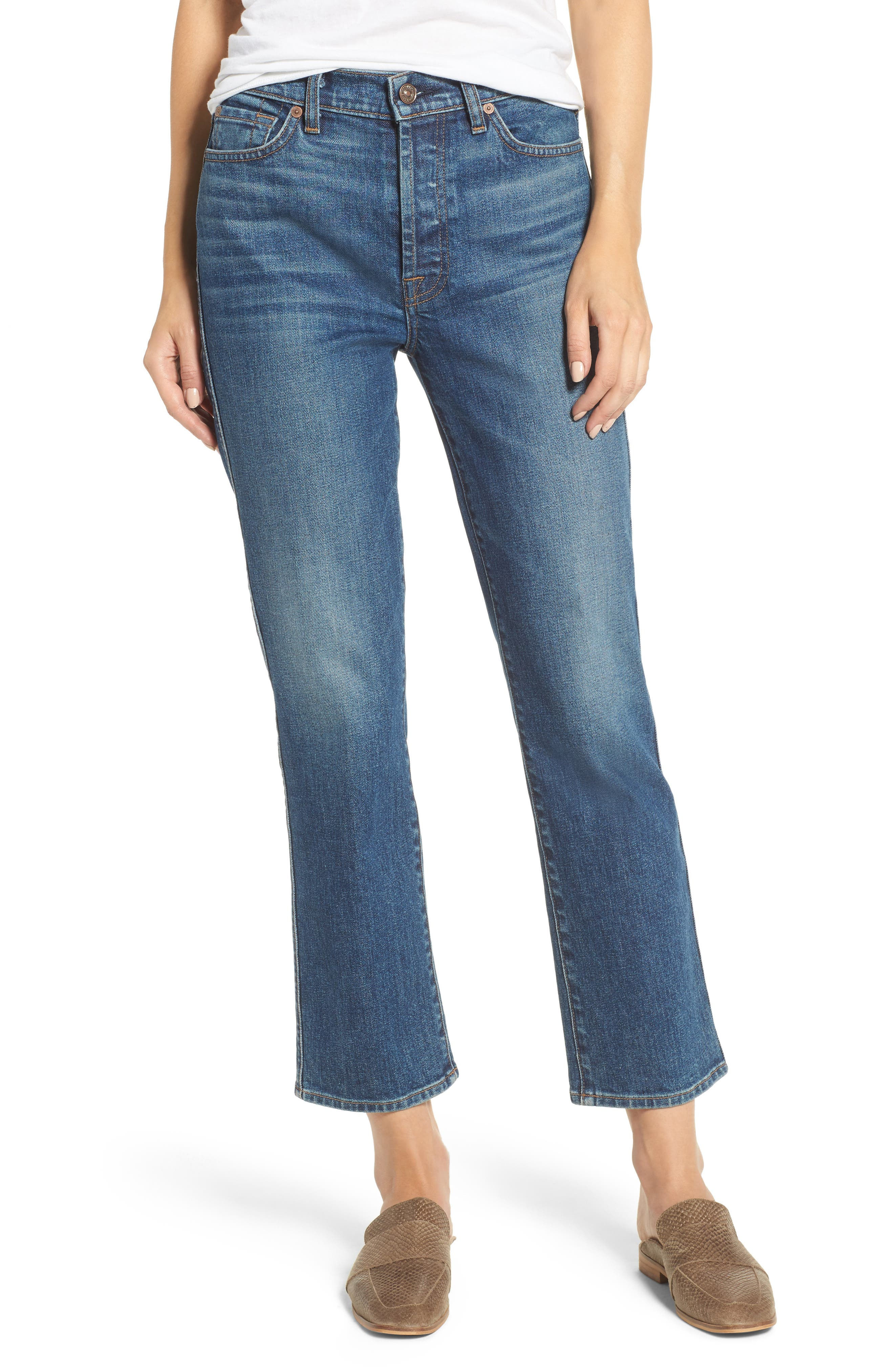 Edie High Waist Crop Straight Leg Jeans,                         Main,                         color, Montreal