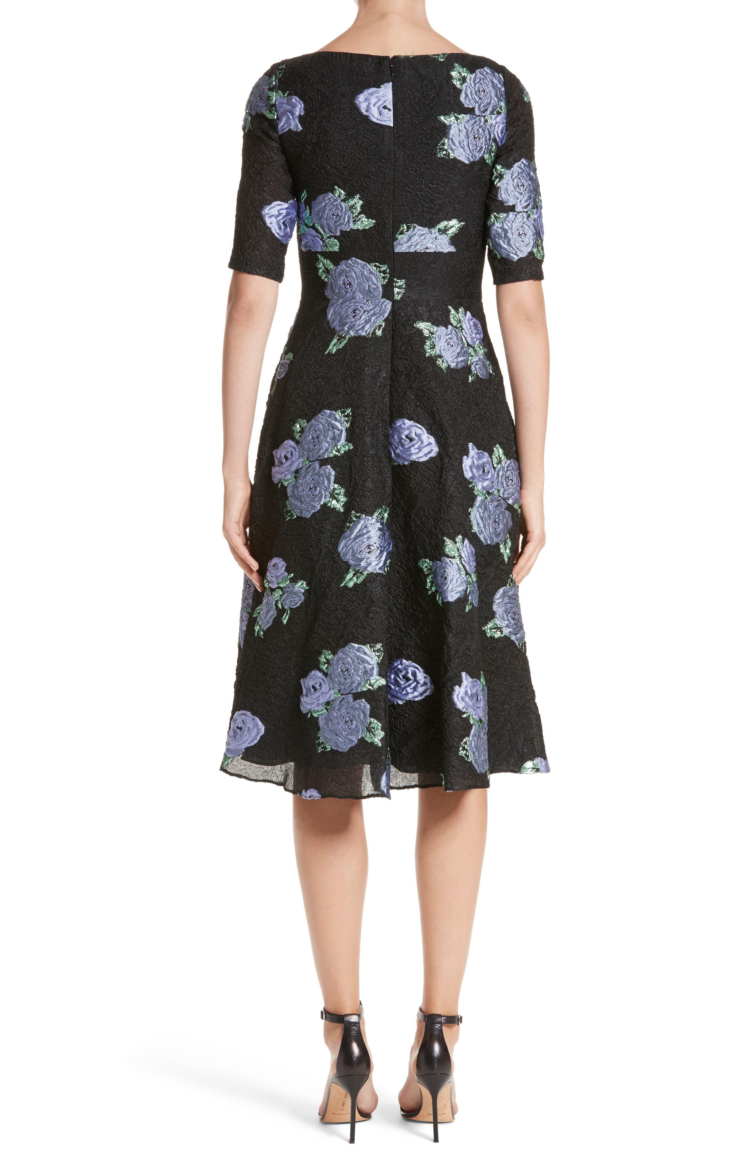 Floral Matelassé Fit & Flare Dress,                             Alternate thumbnail 2, color,                             Black Multi