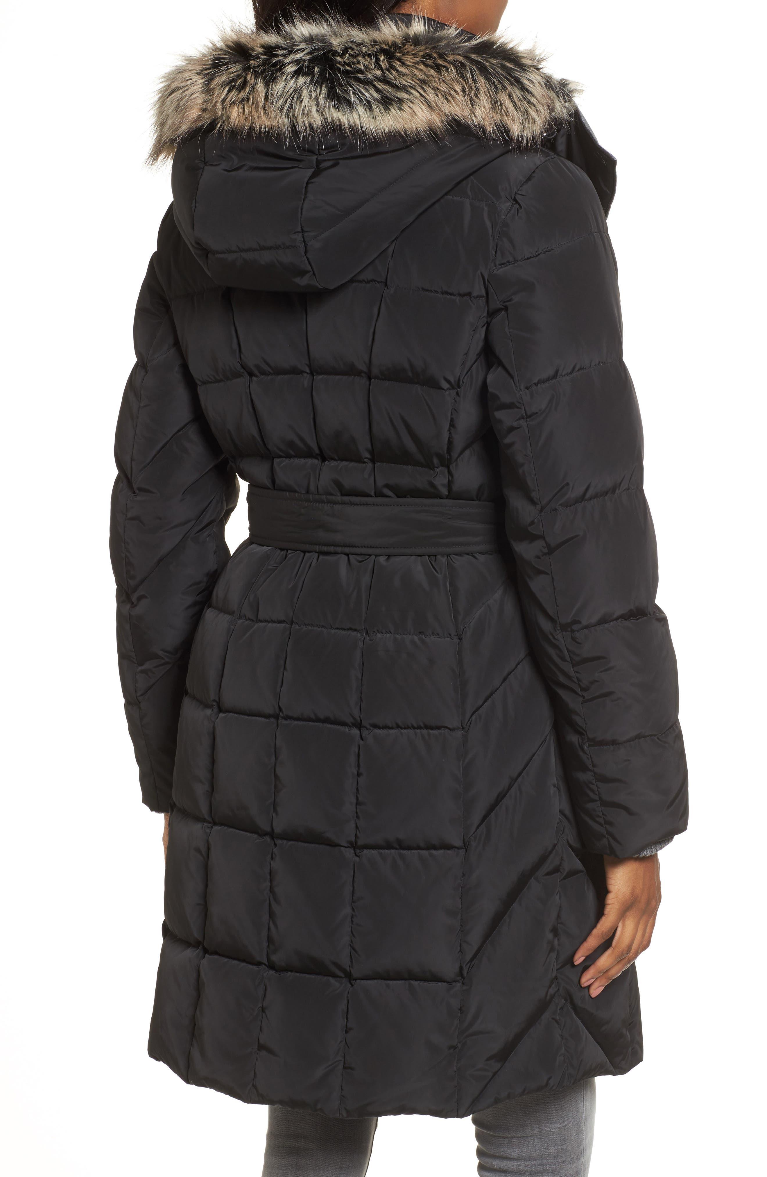 Alternate Image 2  - London Fog Down Coat with Faux Fur Trim