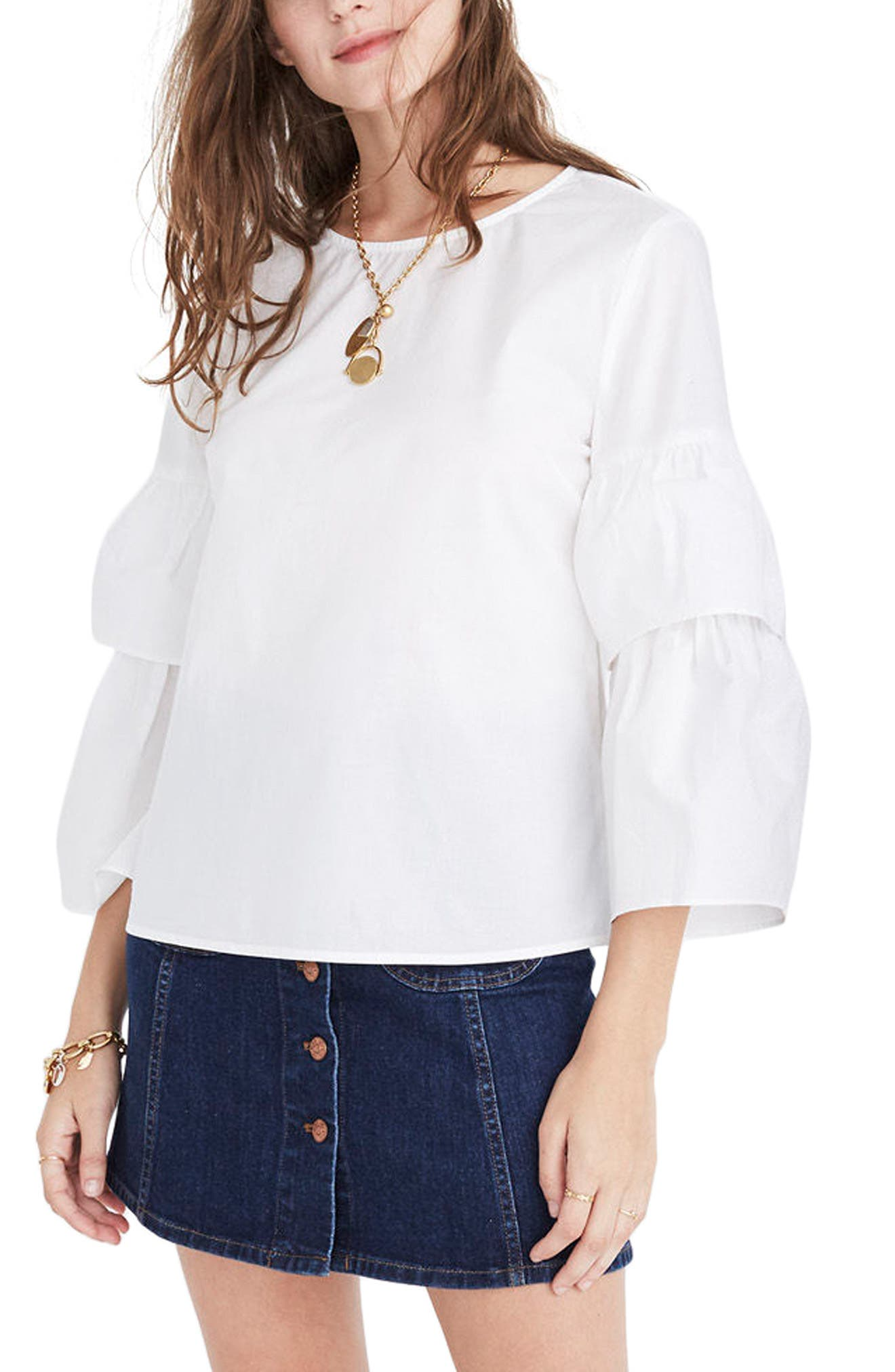 Tiered Sleeve Poplin Top,                             Alternate thumbnail 3, color,                             Bright Ivory