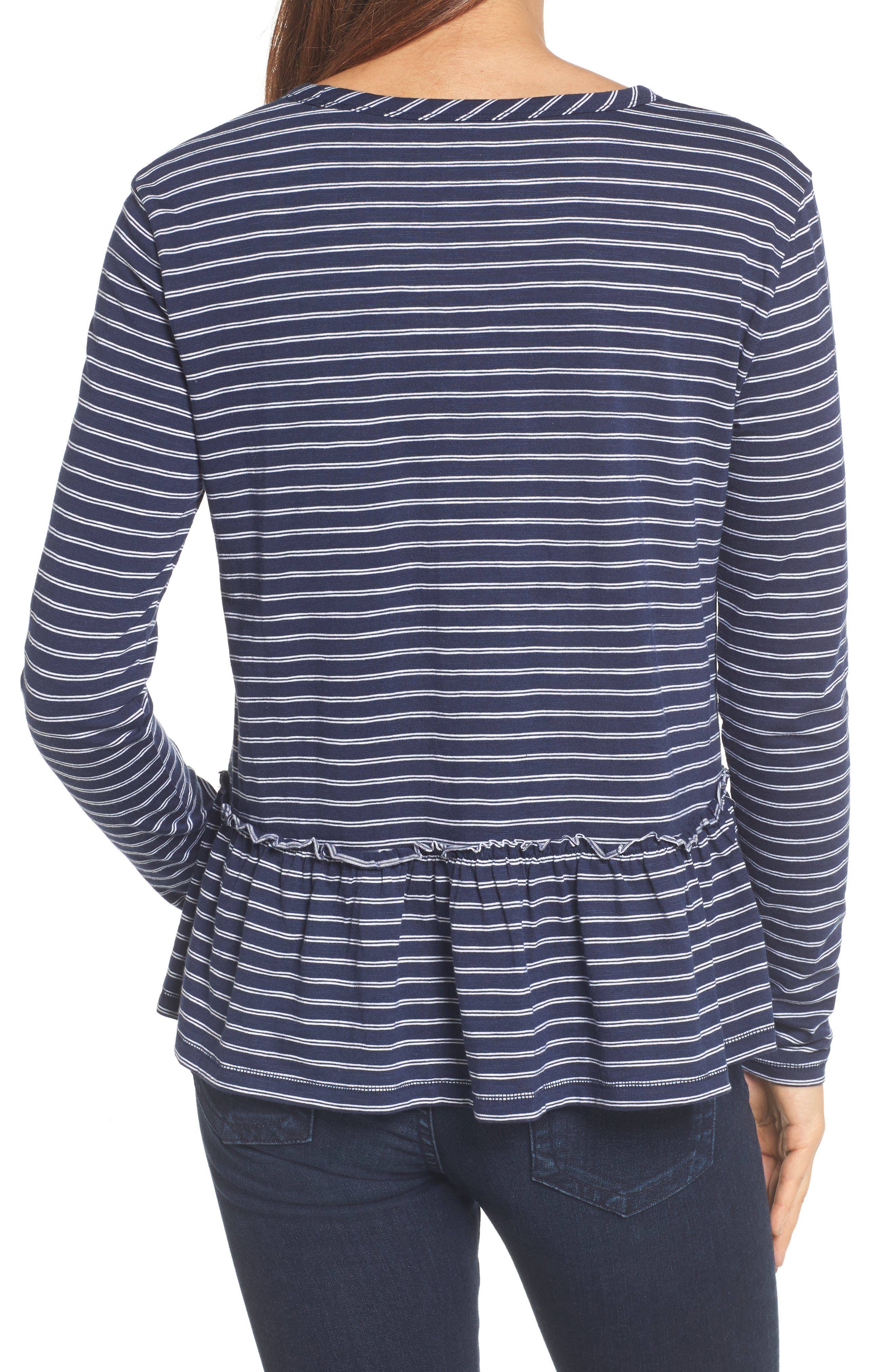 Peplum Tee,                             Alternate thumbnail 2, color,                             Navy- White Double Stripe