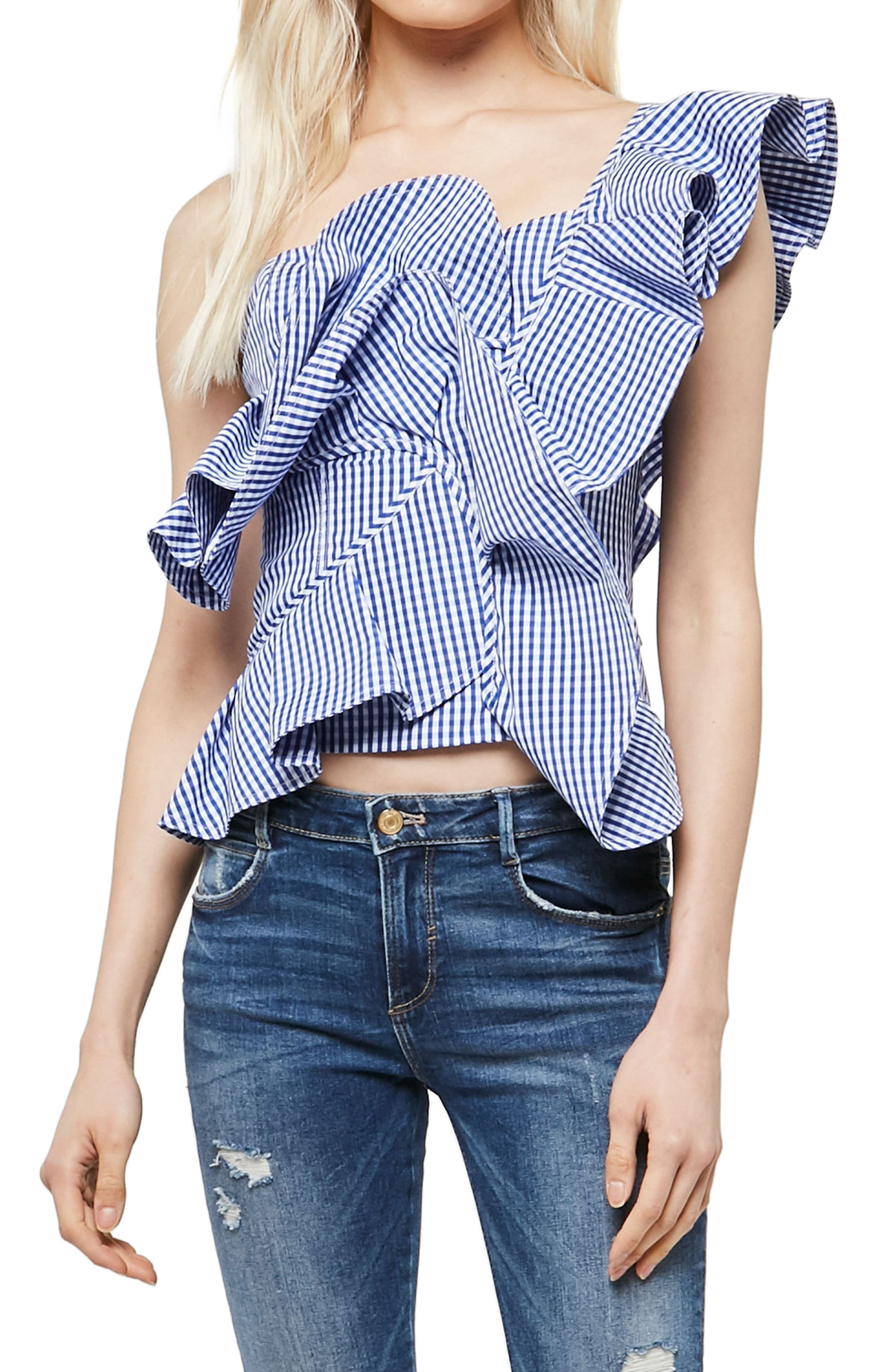Alpha & Omega Gingham One-Shoulder Blouse,                             Main thumbnail 1, color,                             Royal