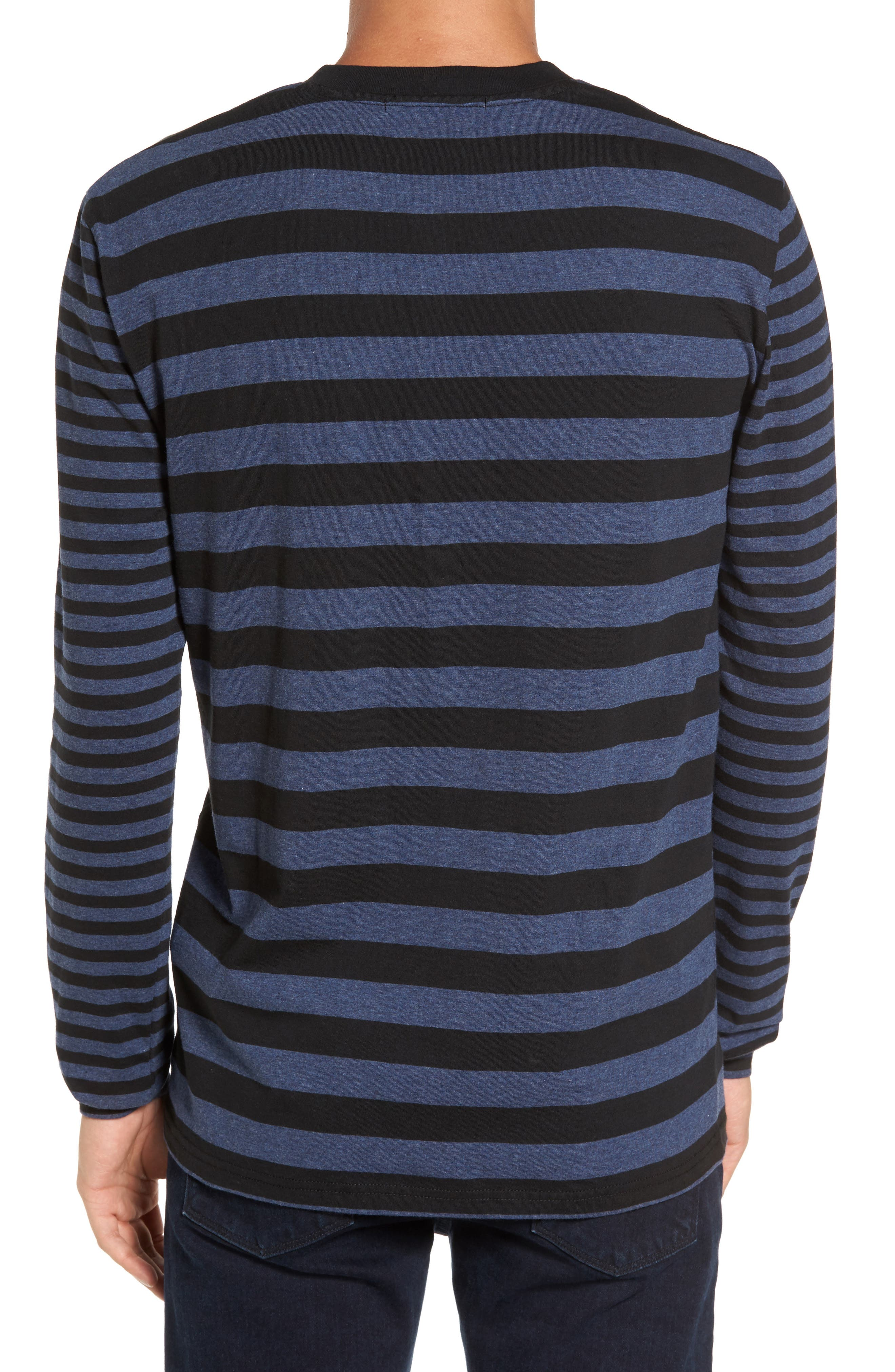 Striped Long Sleeve Henley T-Shirt,                             Alternate thumbnail 2, color,                             Heather Blue/ Black Stripe