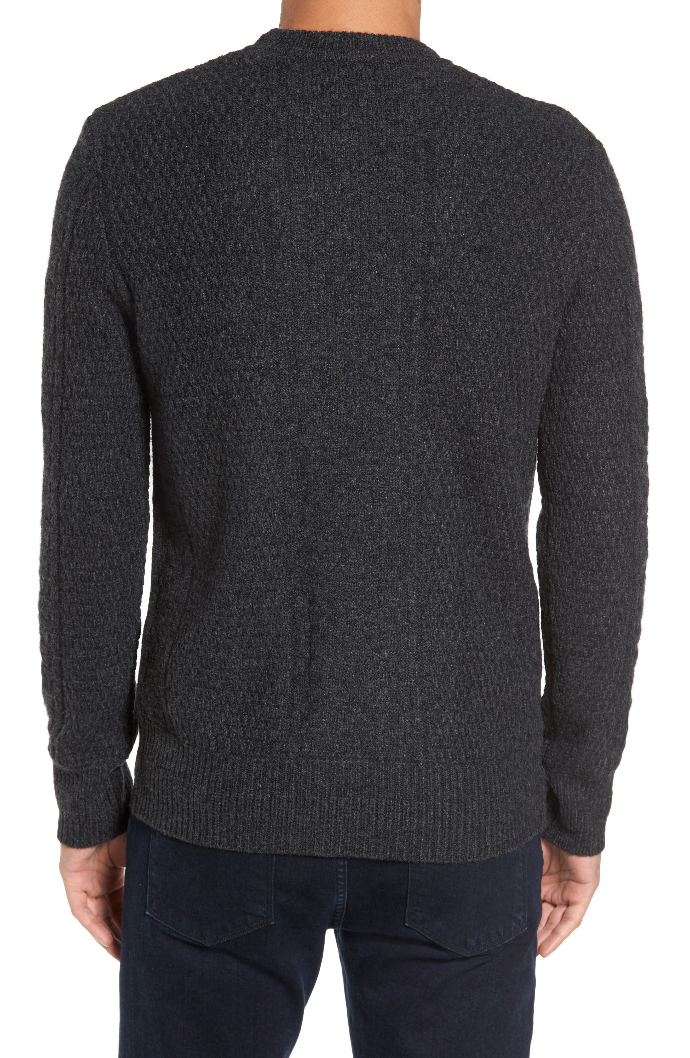 Wool Crewneck Sweater,                             Alternate thumbnail 2, color,                             Charcoal