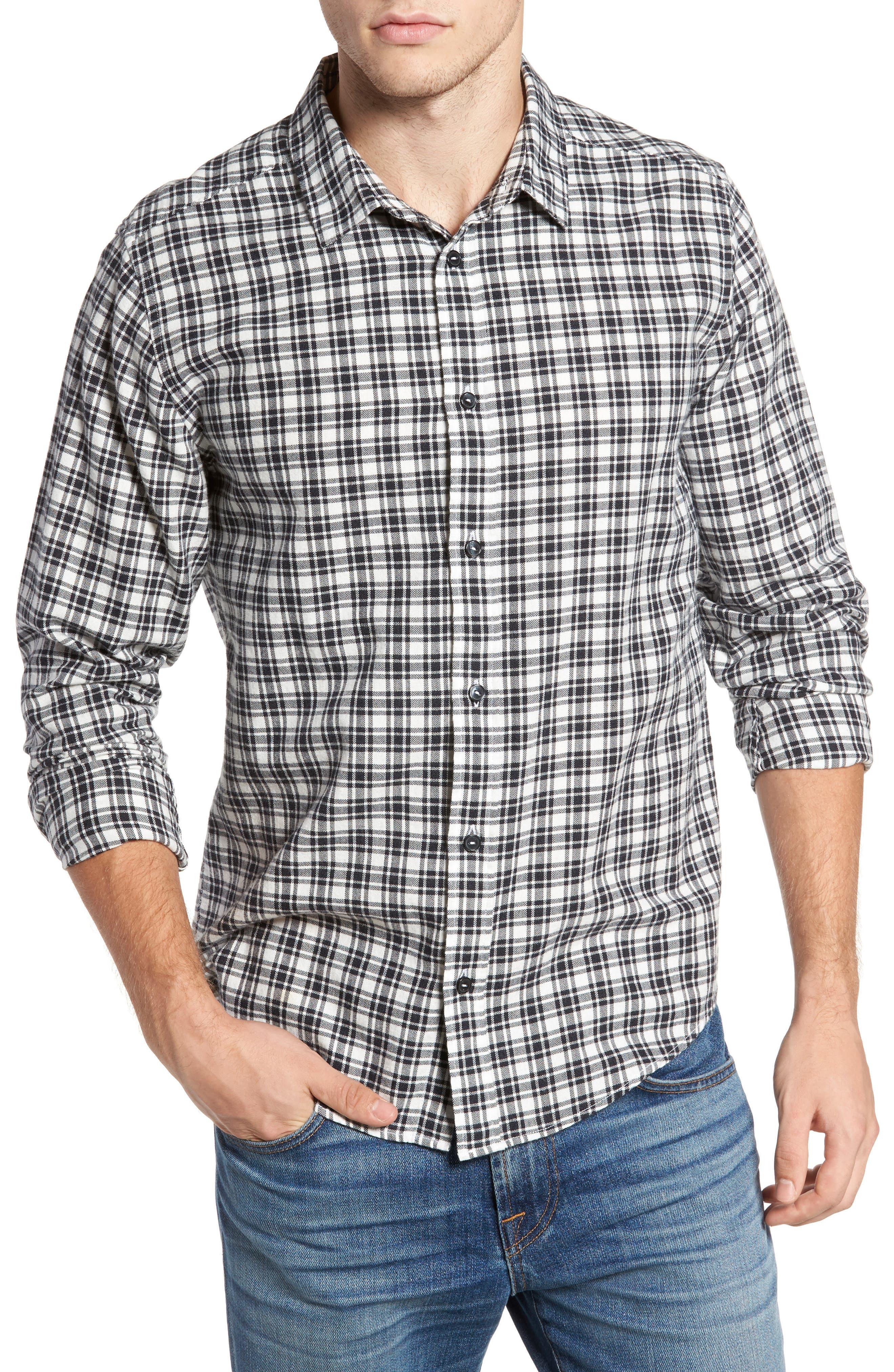 Hayes Plaid Flannel Sport Shirt,                         Main,                         color, Antique White