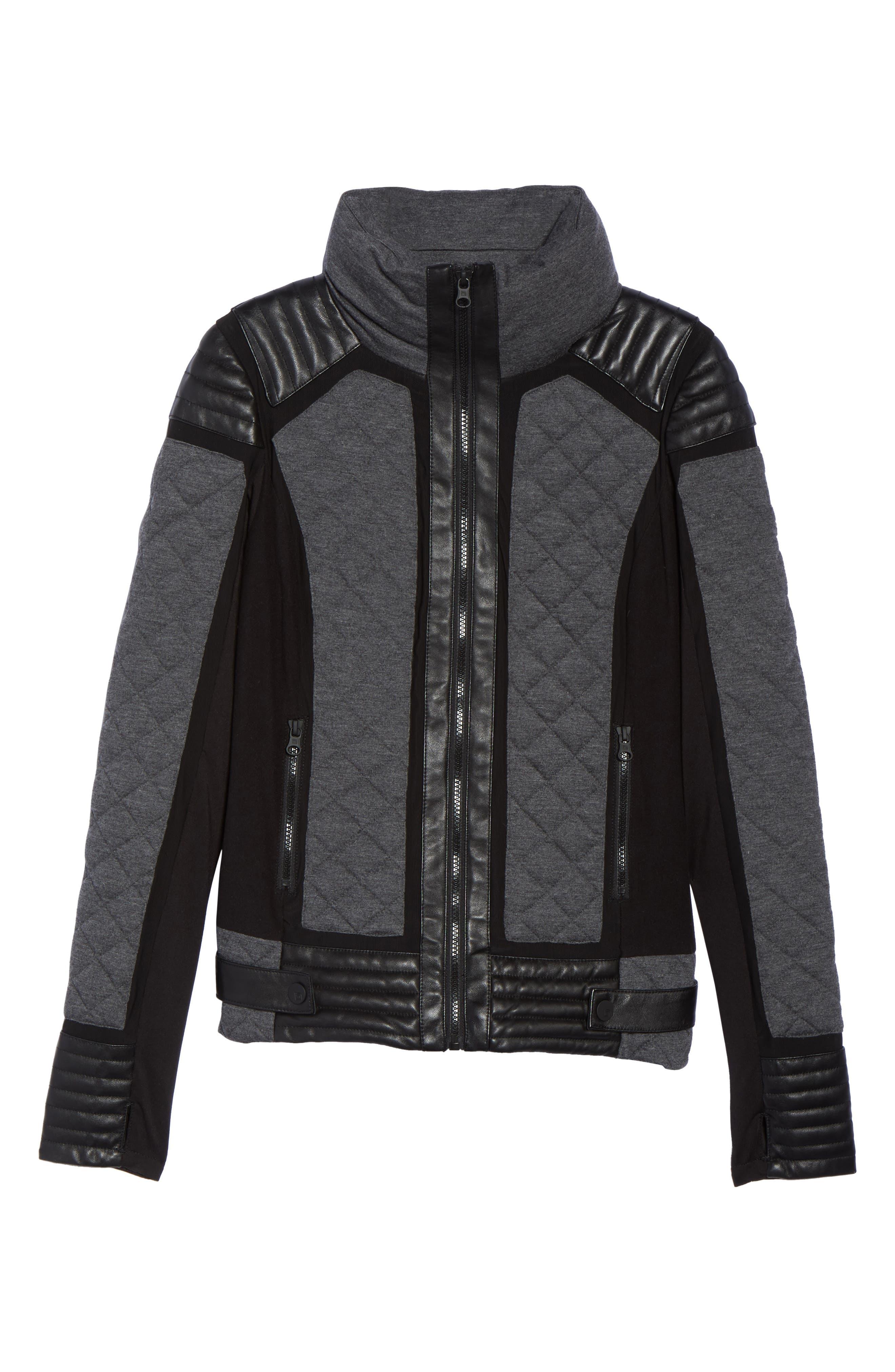 Alternate Image 6  - Blanc Noir Mesh Inset Moto Jacket