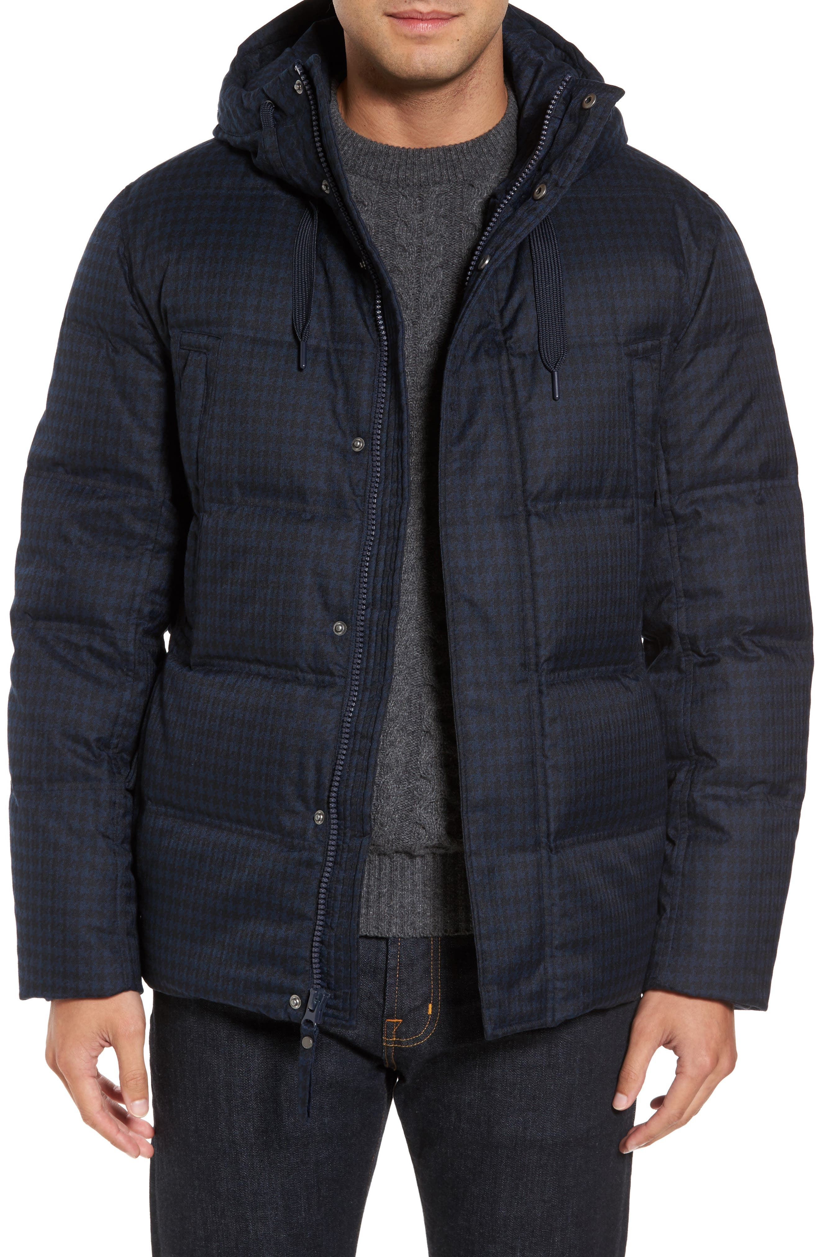 Marc New York Houndstooth Quilted Down Jacket
