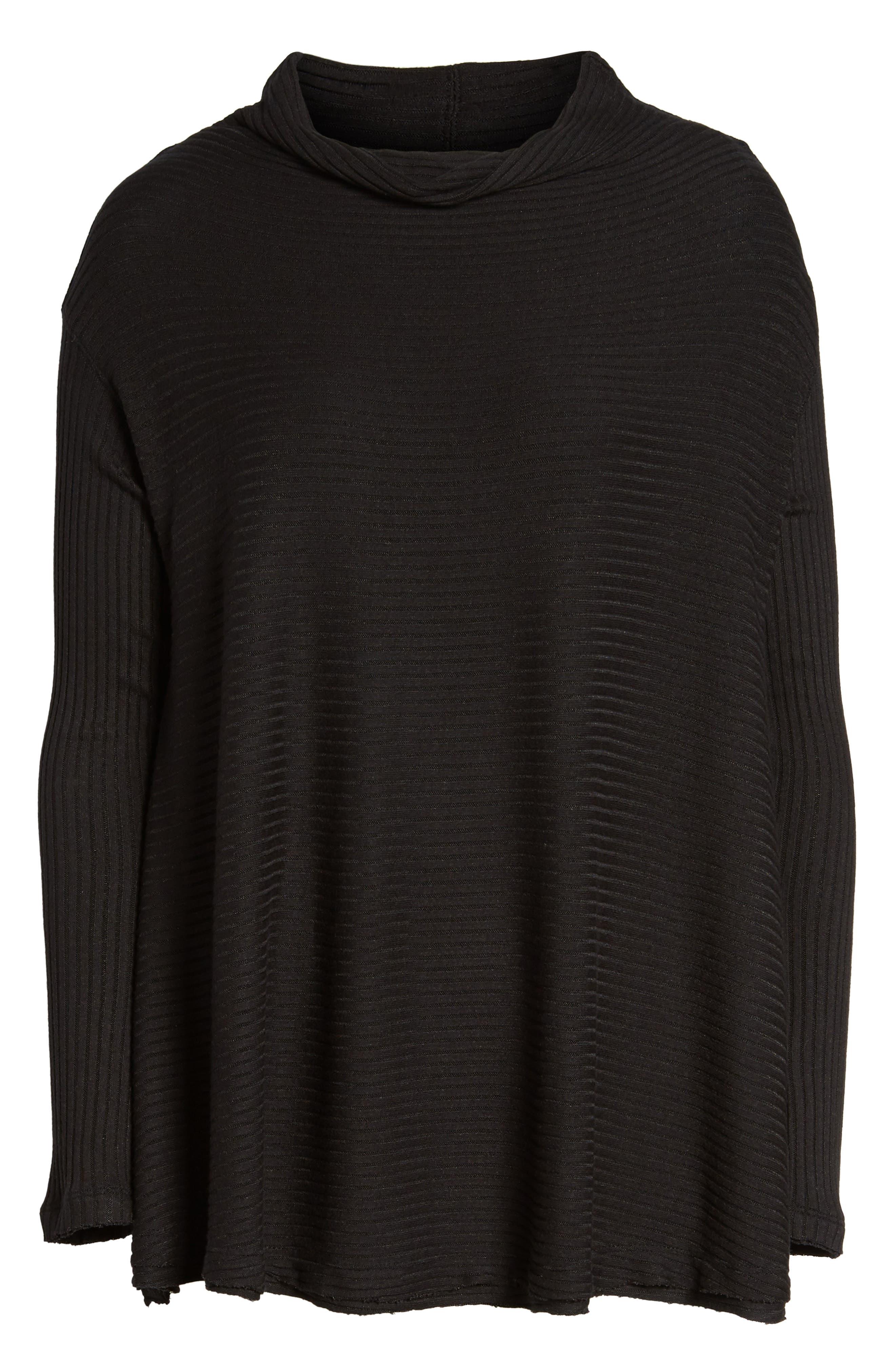 Lover Rib Split Back Pullover,                             Alternate thumbnail 6, color,                             Black
