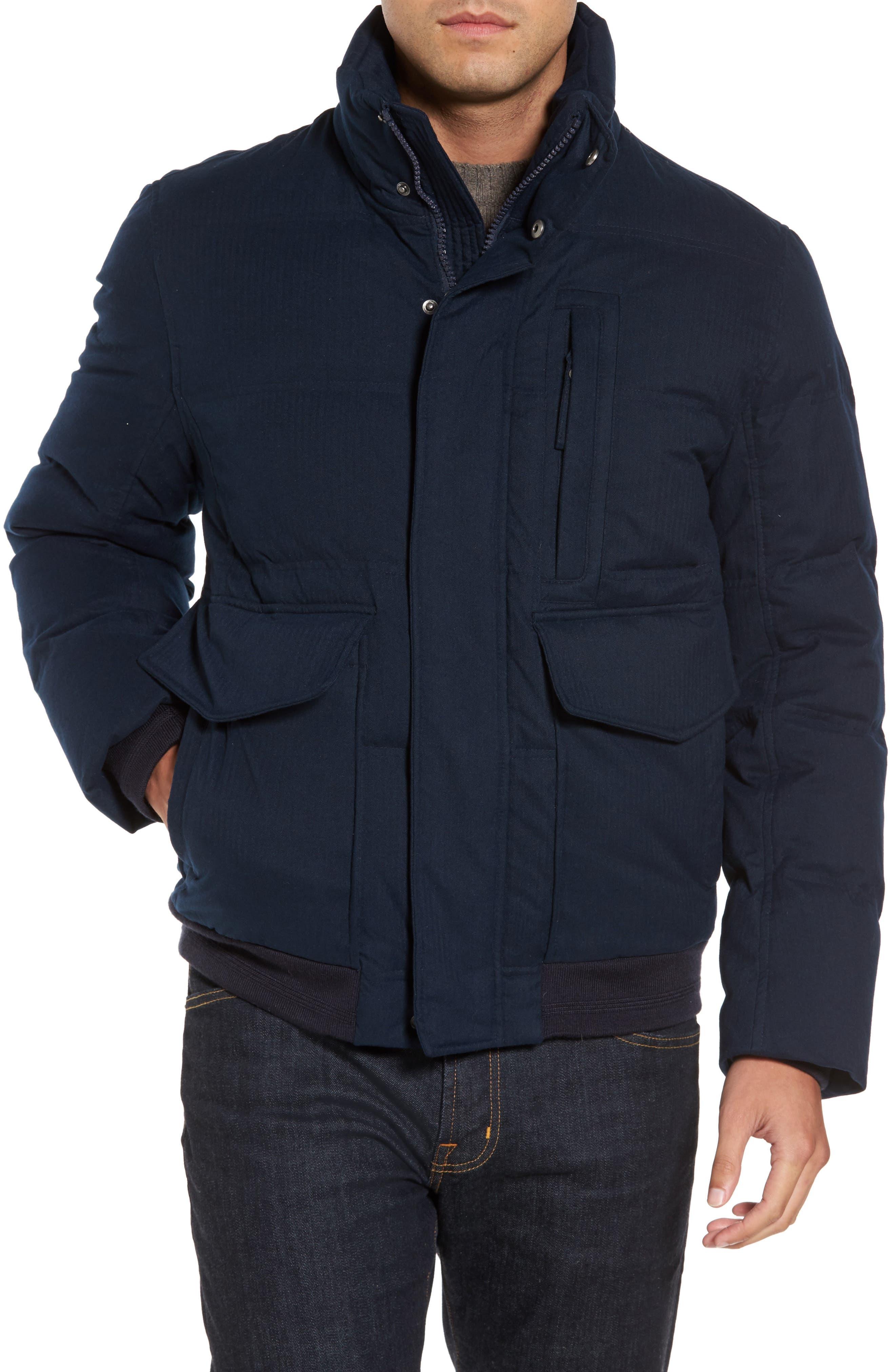 Alternate Image 4  - Marc New York Down Herringbone Jacket with Genuine Coyote Fur Trim