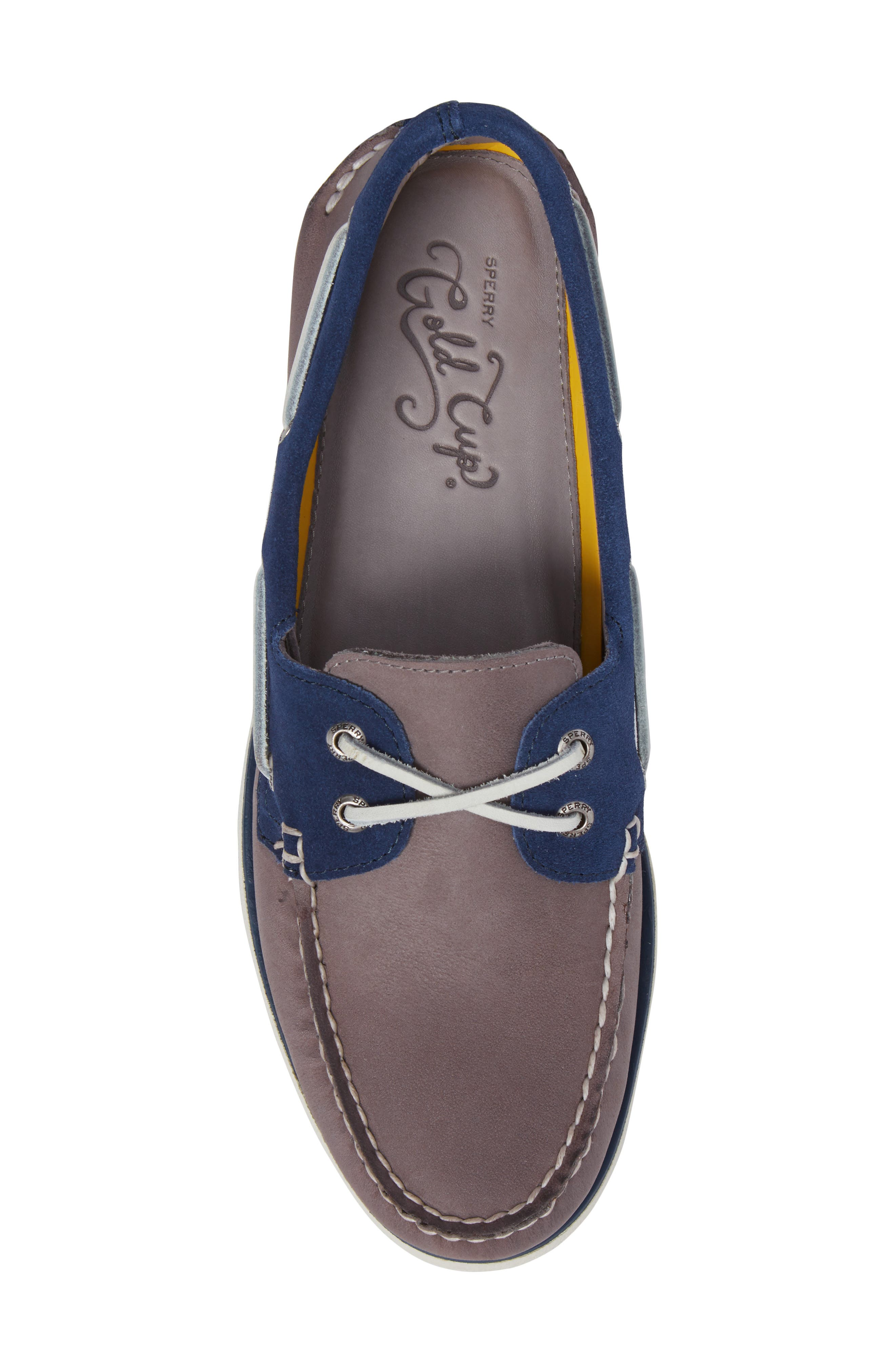 Gold Cup Authentic Original Boat Shoe,                             Alternate thumbnail 5, color,                             Grey/ Blue Leather