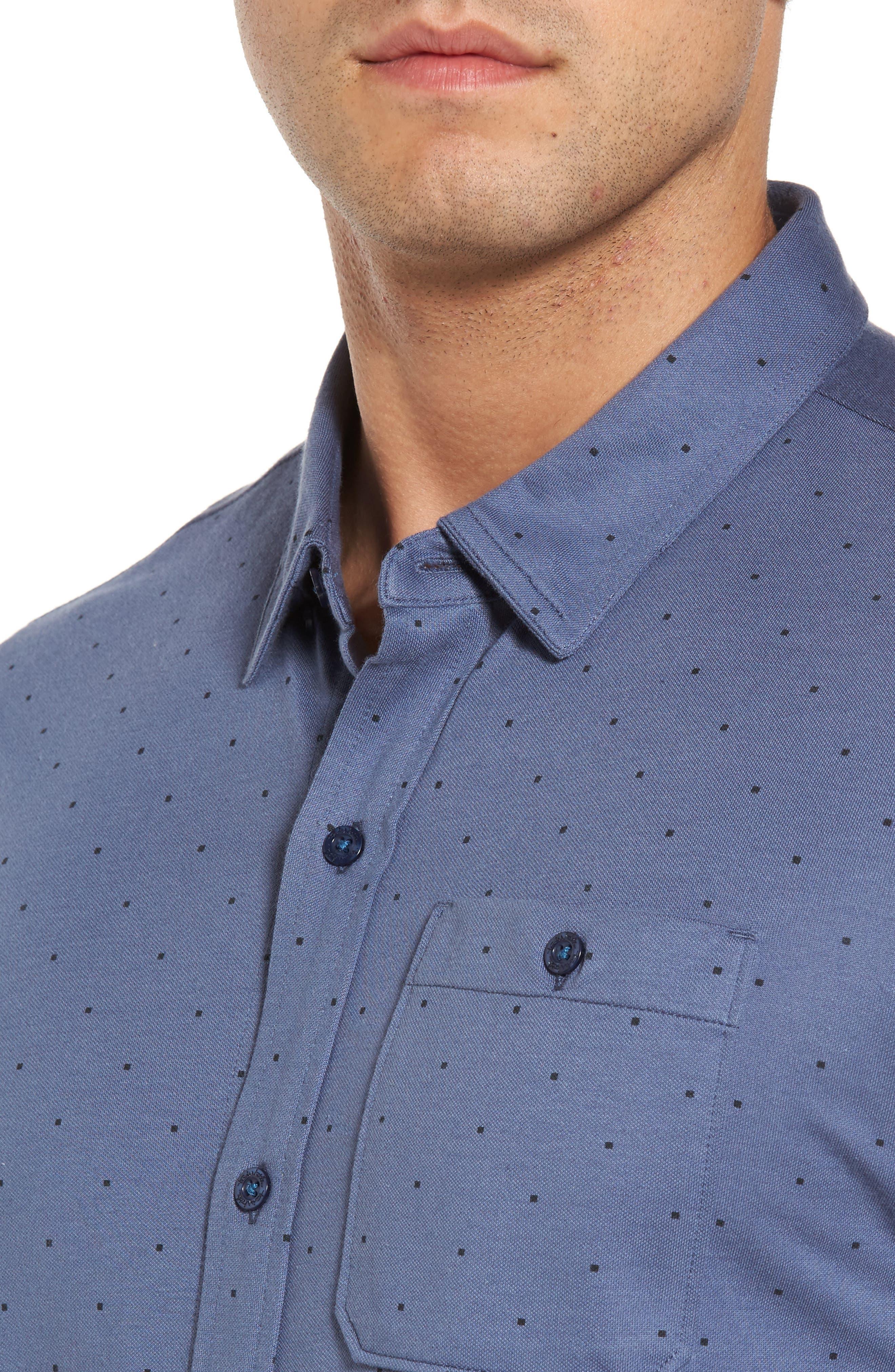 Randy Square Dot Sport Shirt,                             Alternate thumbnail 4, color,                             Vintage Indigo
