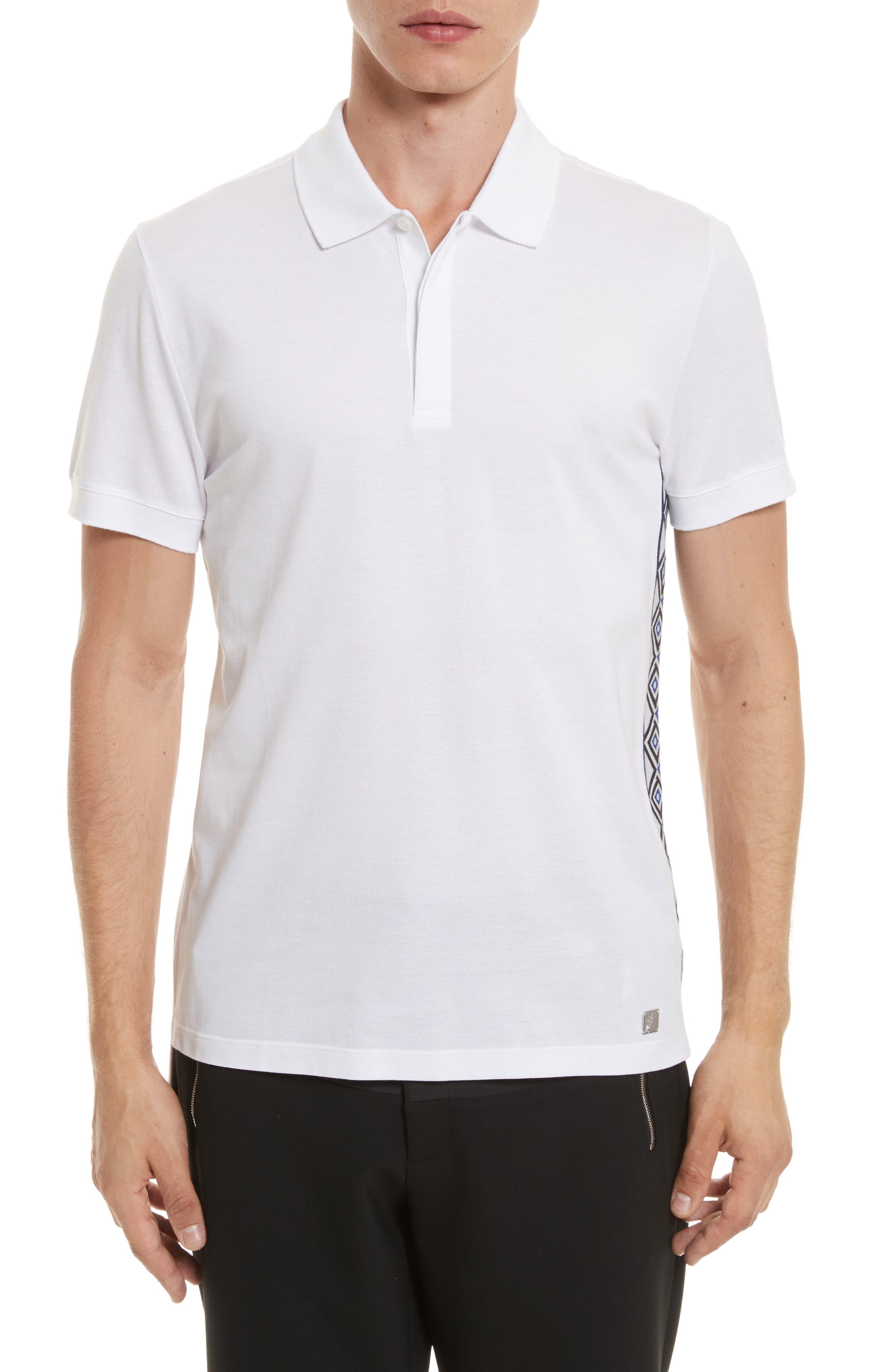 Contrast Trim Piqué Polo,                         Main,                         color, White