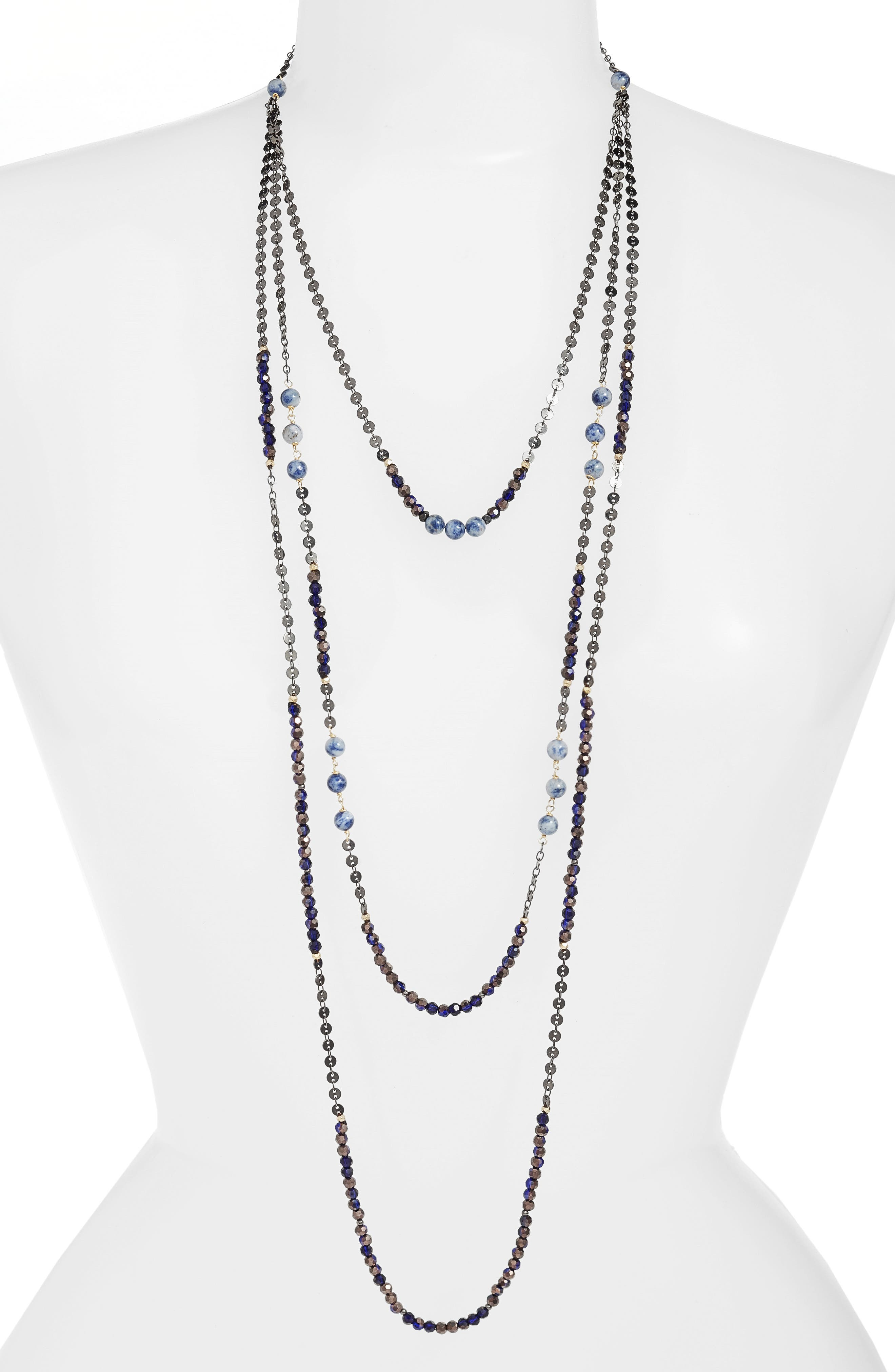 Nakamol Semiprecious Stone Triple Strand Necklace,                             Main thumbnail 1, color,                             Blue