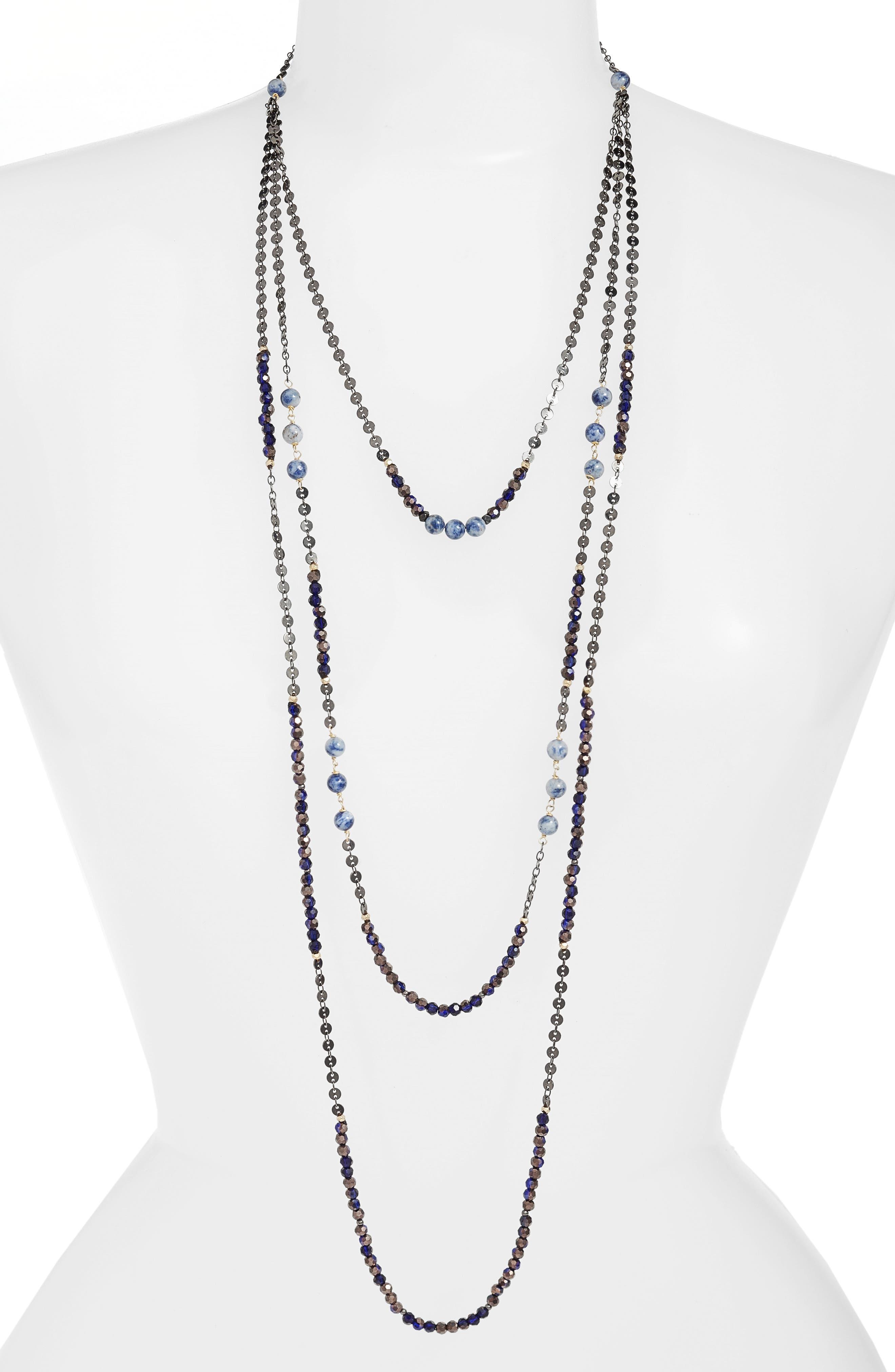 Nakamol Semiprecious Stone Triple Strand Necklace