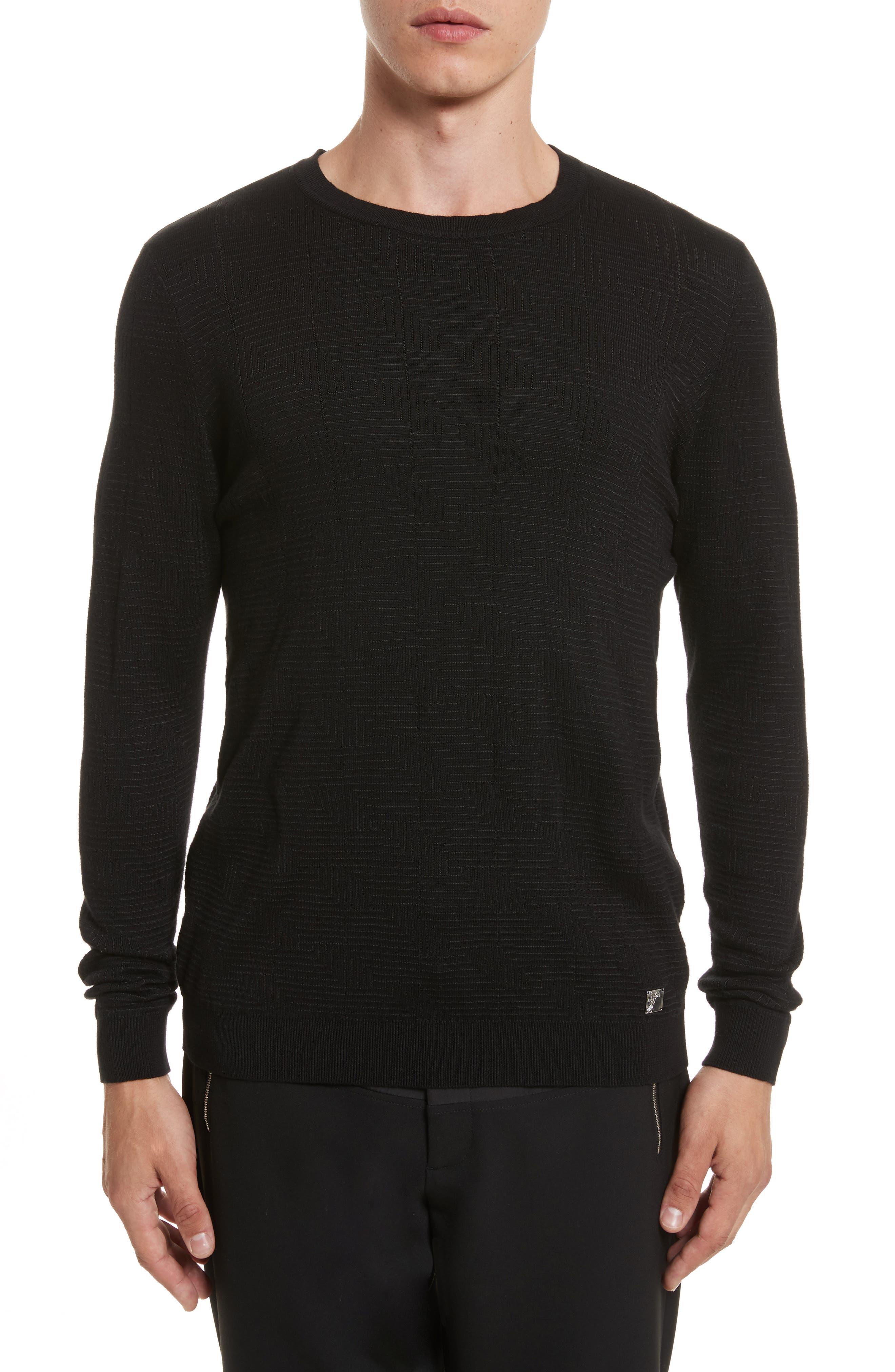 Frame Jacquard Sweater,                         Main,                         color, Black