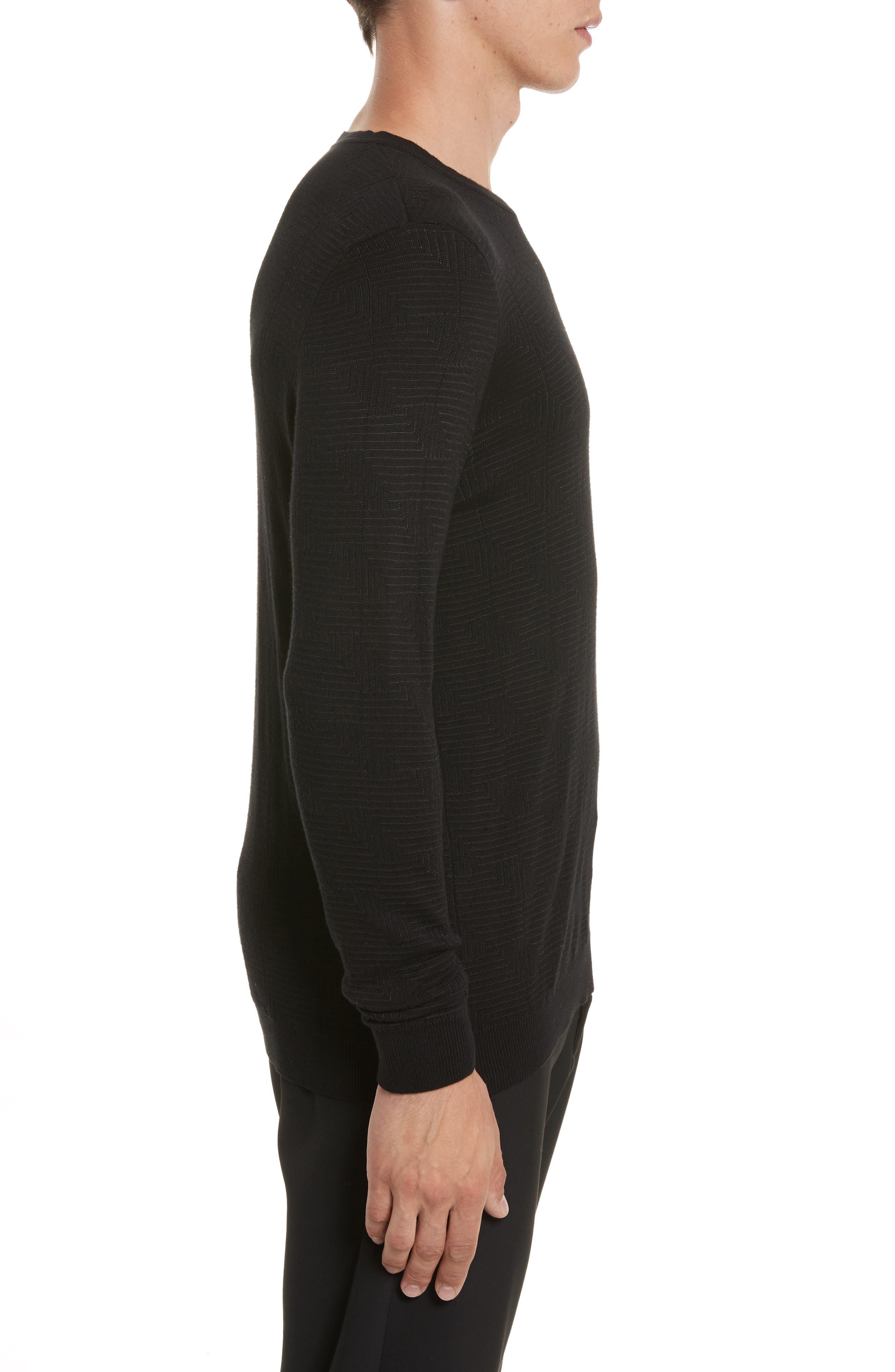 Frame Jacquard Sweater,                             Alternate thumbnail 3, color,                             Black