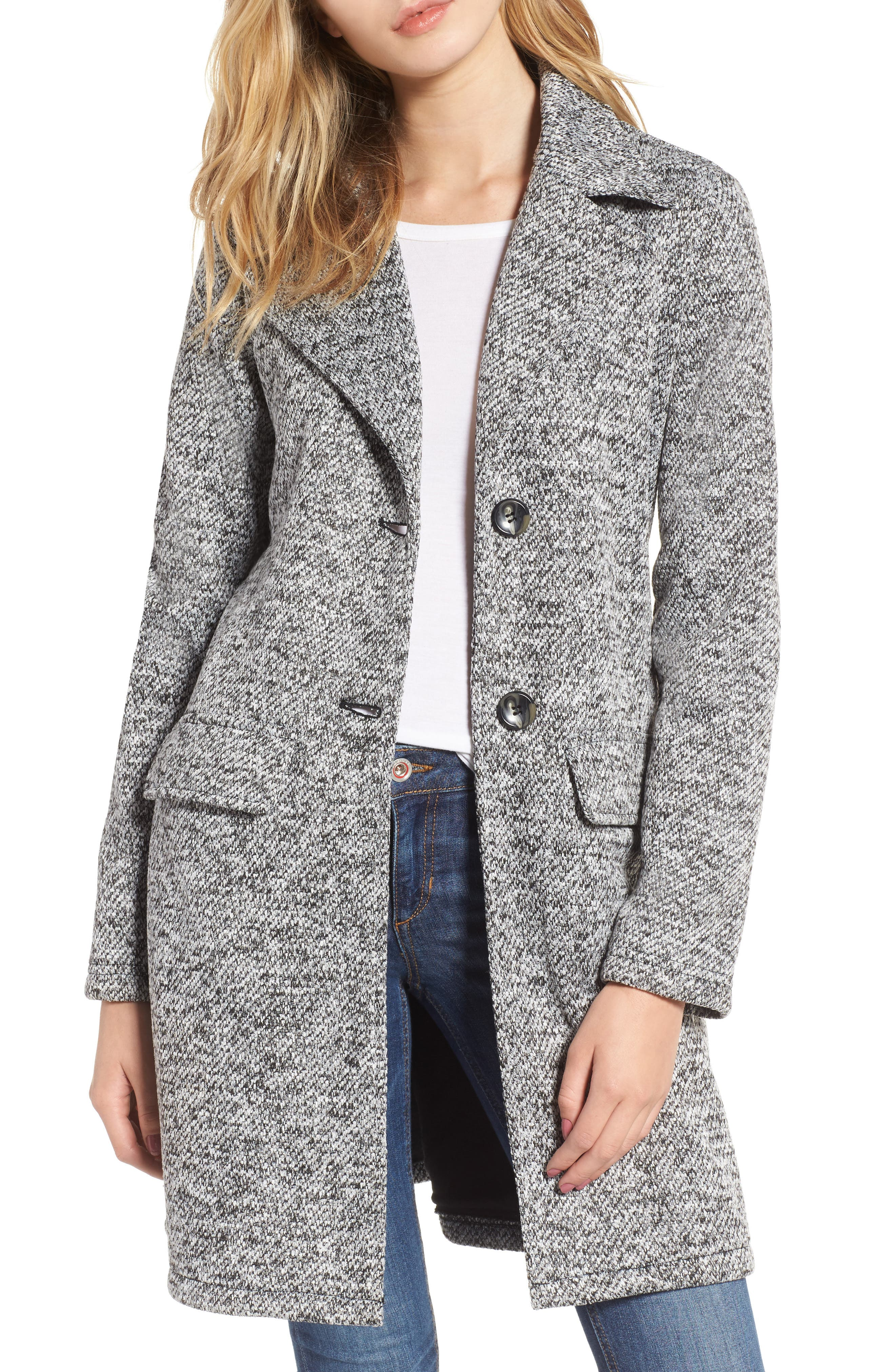 Belted Fleece Jacket,                         Main,                         color, Light Grey Heather