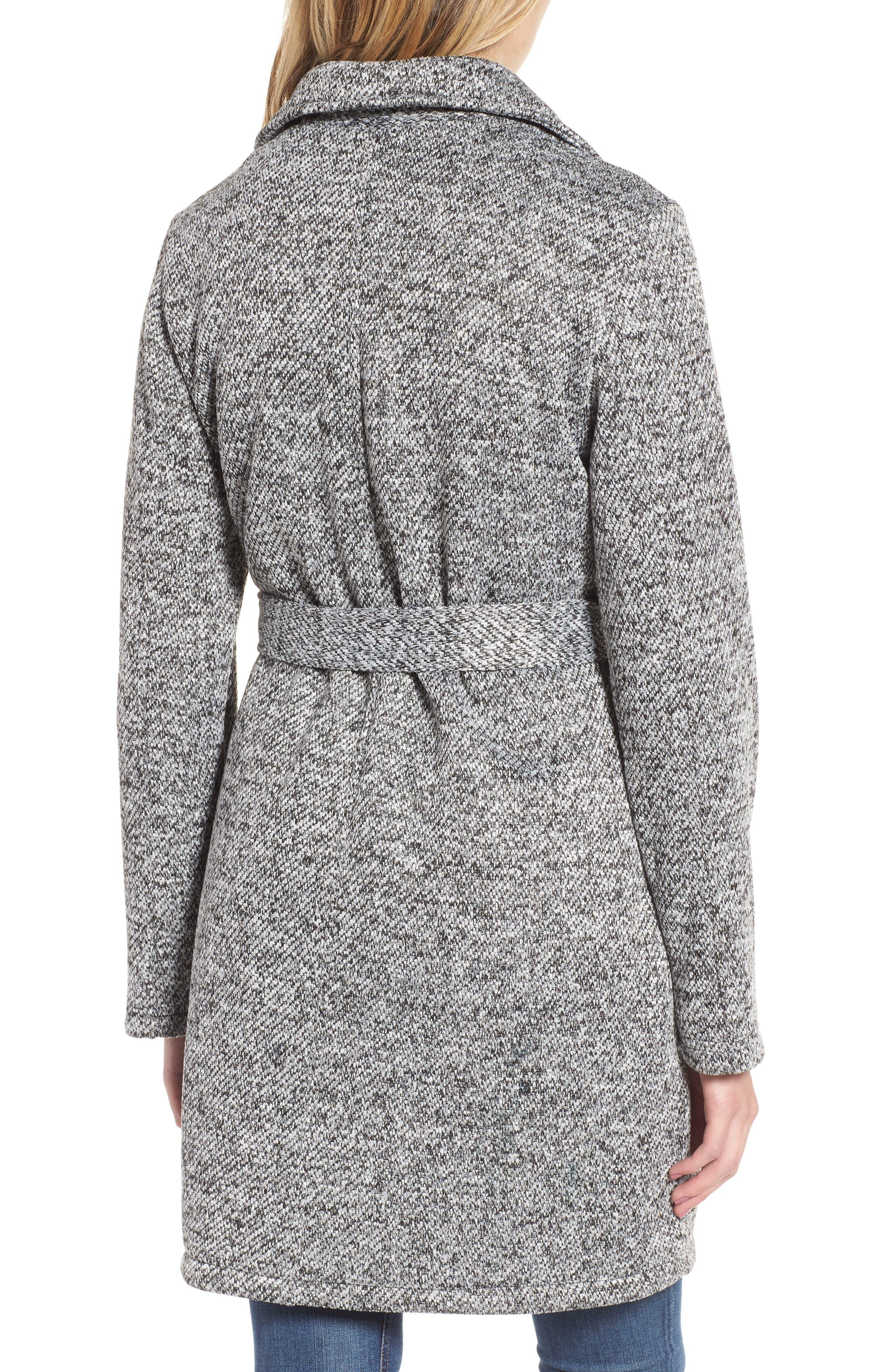 Belted Fleece Jacket,                             Alternate thumbnail 2, color,                             Light Grey Heather
