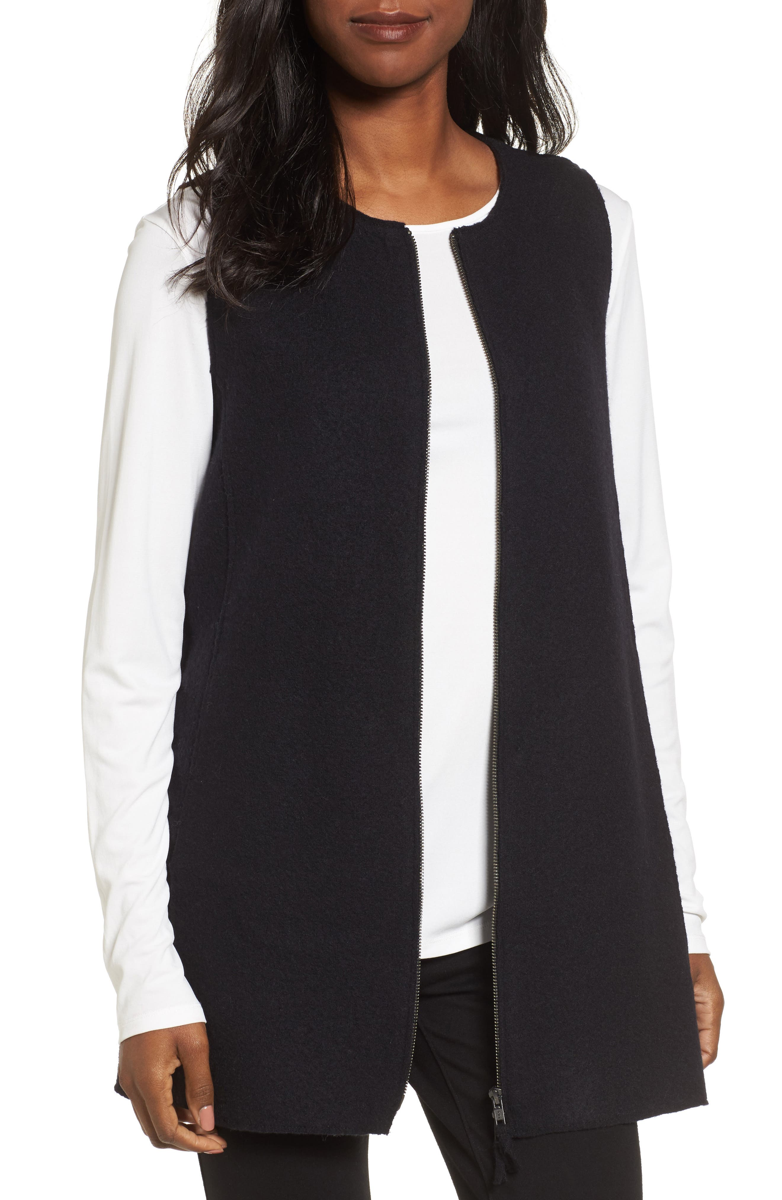 Main Image - Eileen Fisher Long Boiled Wool Vest (Regular & Petite)