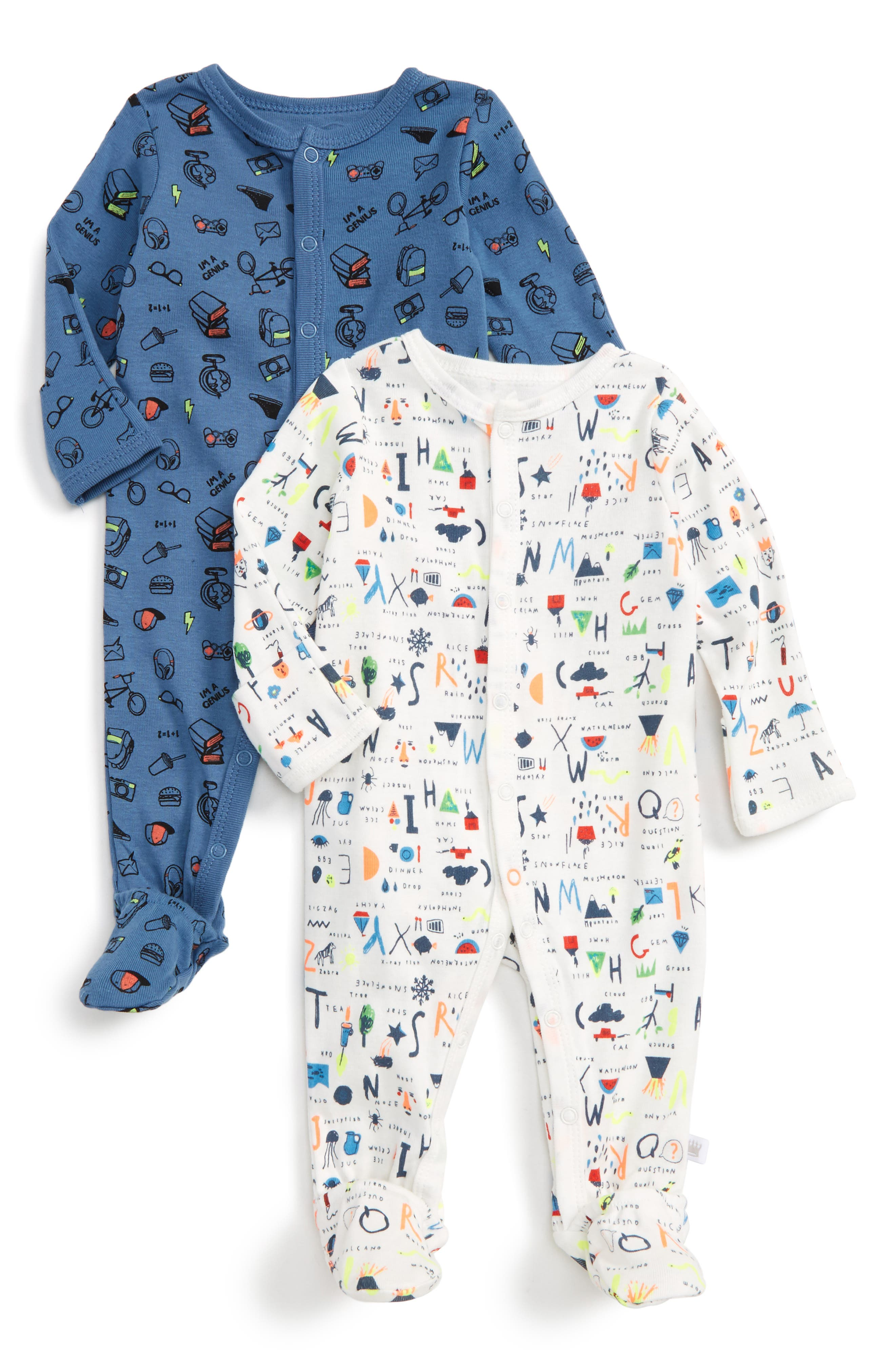 Alternate Image 1 Selected - Rosie Pope Nerd Alert 2-Pack Footies (Baby Boys)