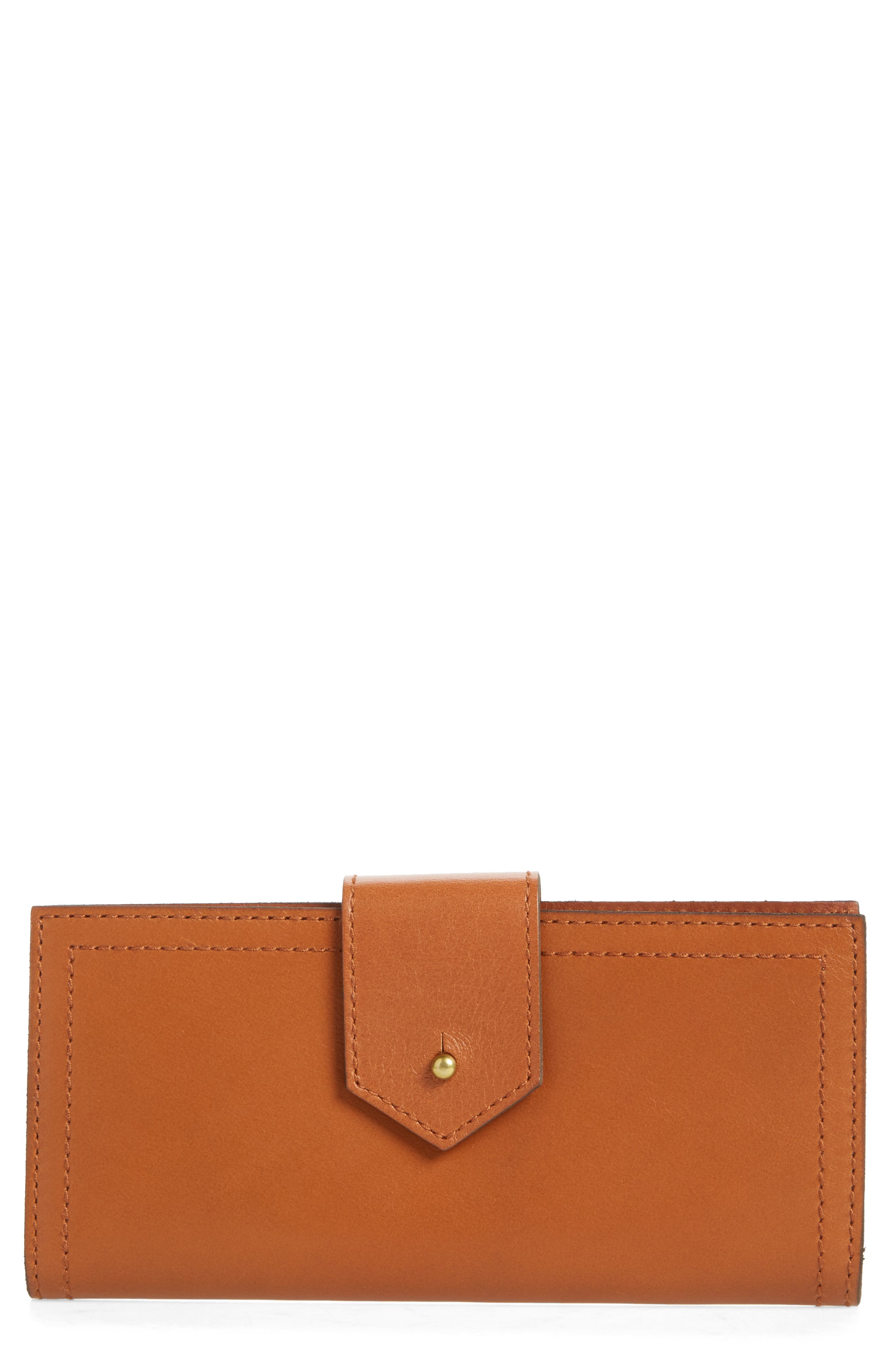 The Post Leather Wallet,                         Main,                         color, English Saddle