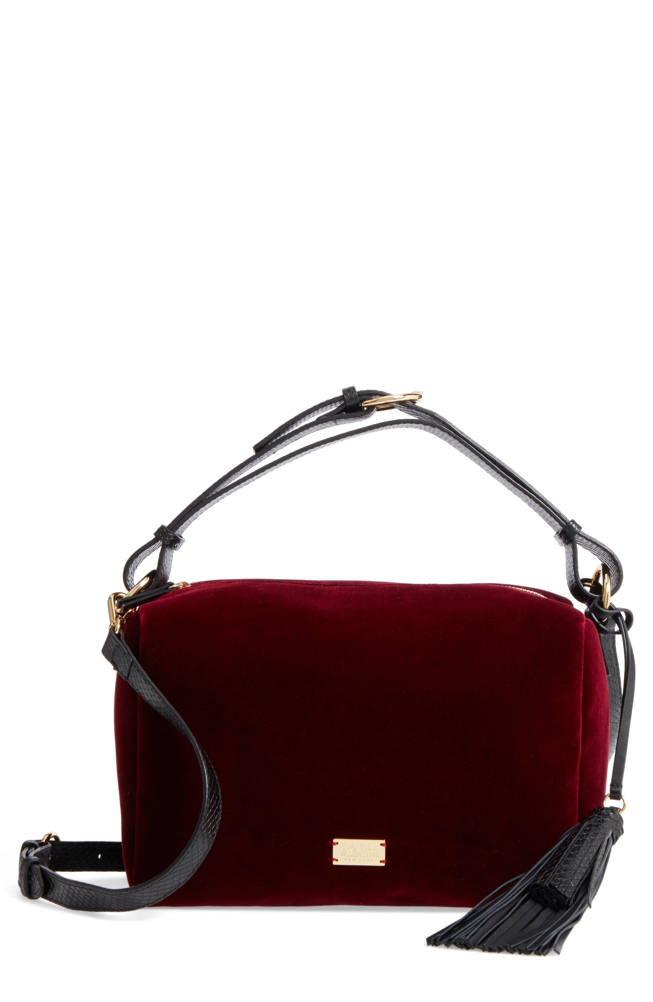 Frances Valentine Small Boxy Velvet & Leather Satchel