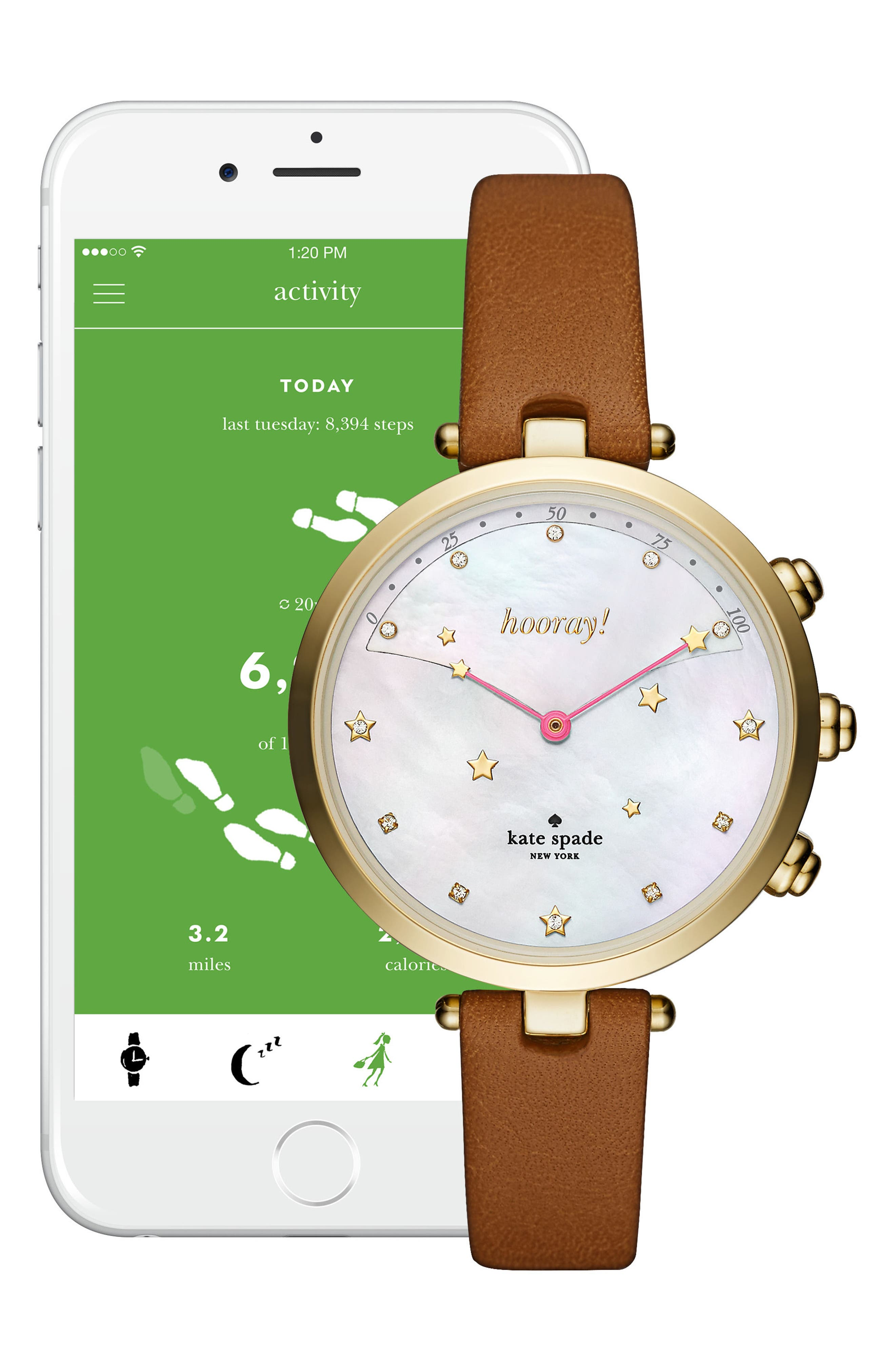 Alternate Image 4  - kate spade new york holland hybrid leather strap watch, 37mm