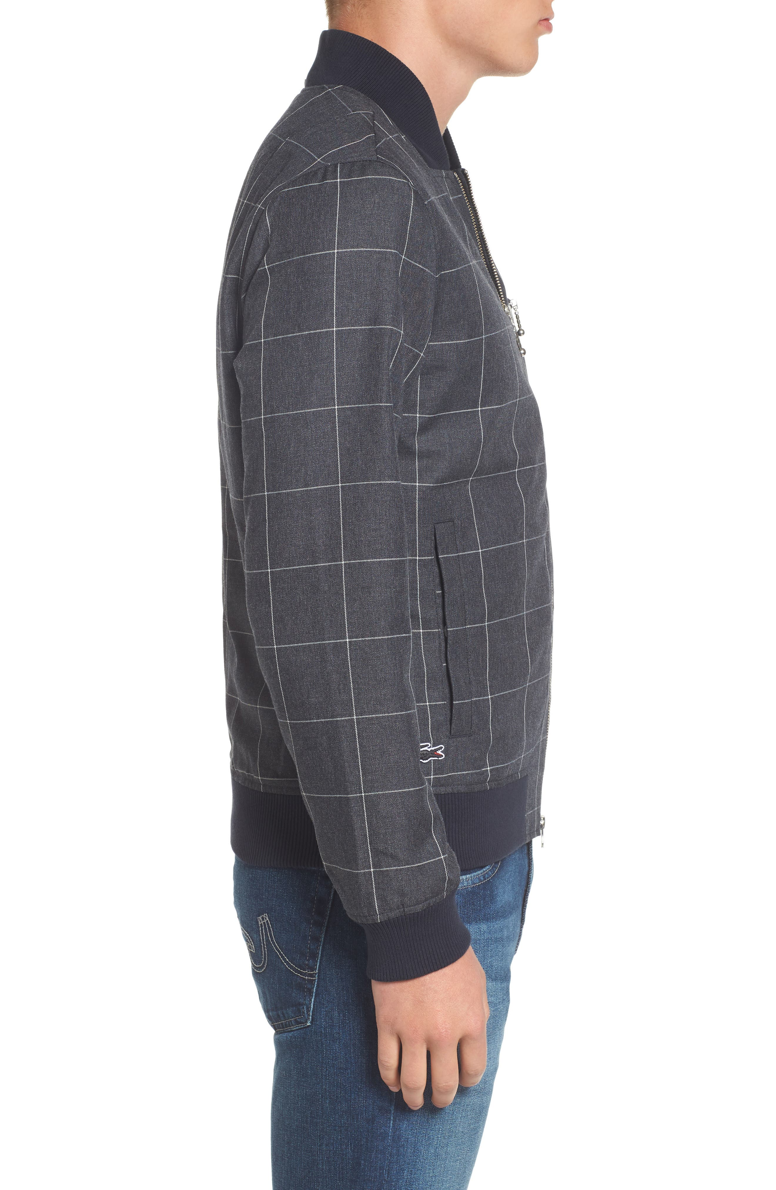 Check Flannel Bomber Jacket,                             Alternate thumbnail 3, color,                             Qsa Eclipse Blue/ Cliff