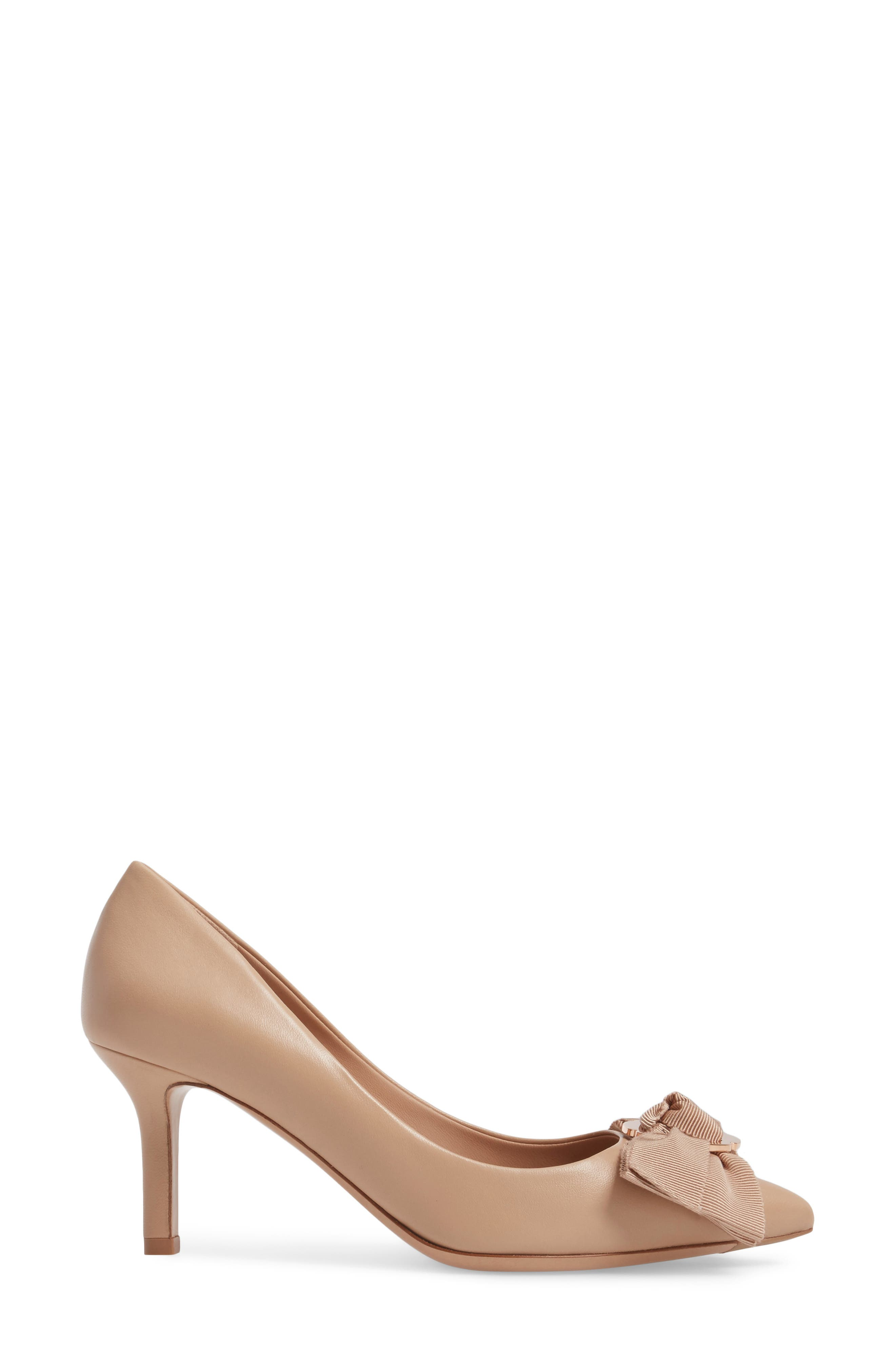 Talla Bow Pointy Toe Pump,                             Alternate thumbnail 3, color,                             Almond