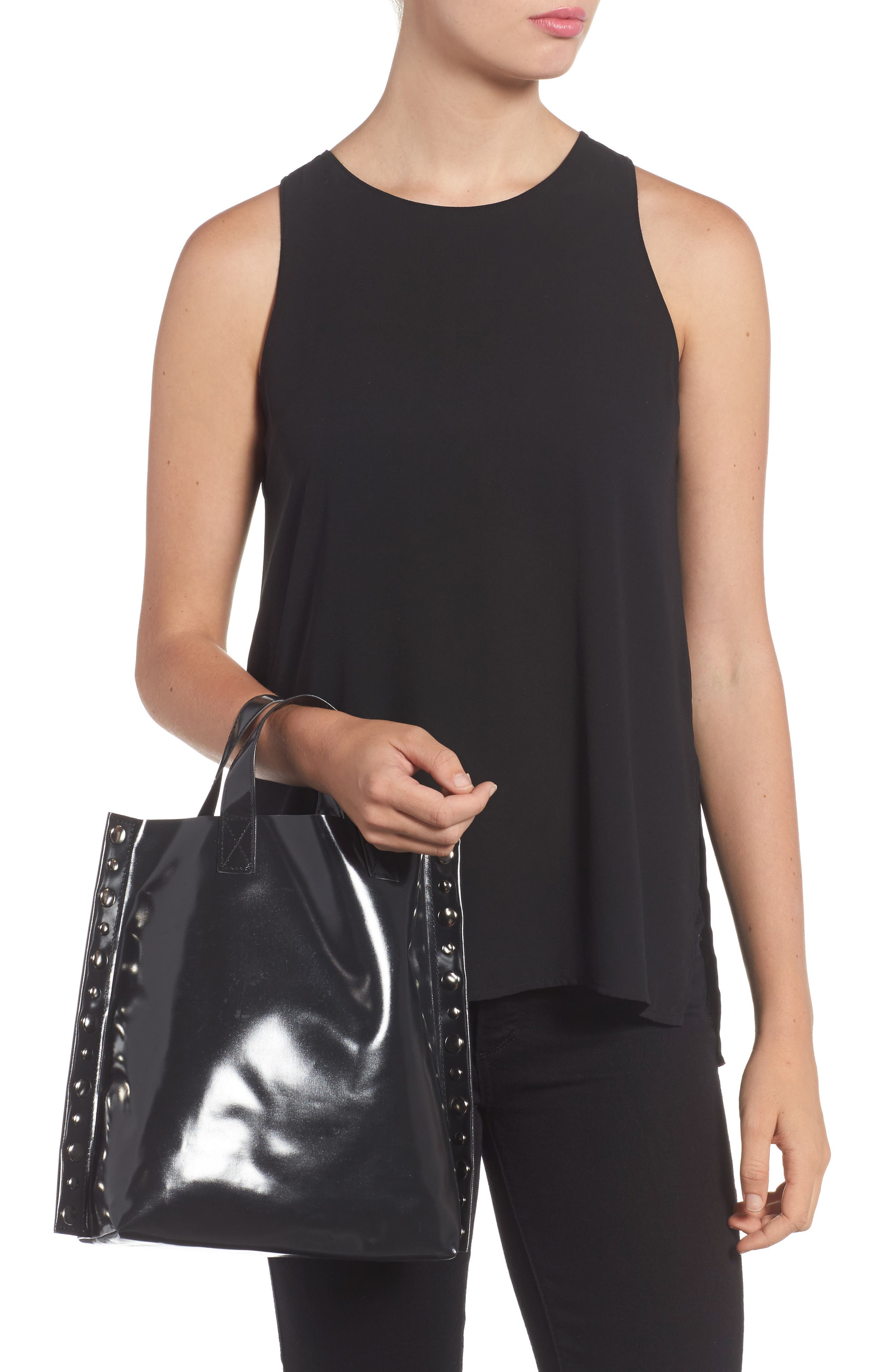 Studded Faux Leather Tote,                             Alternate thumbnail 2, color,                             Black