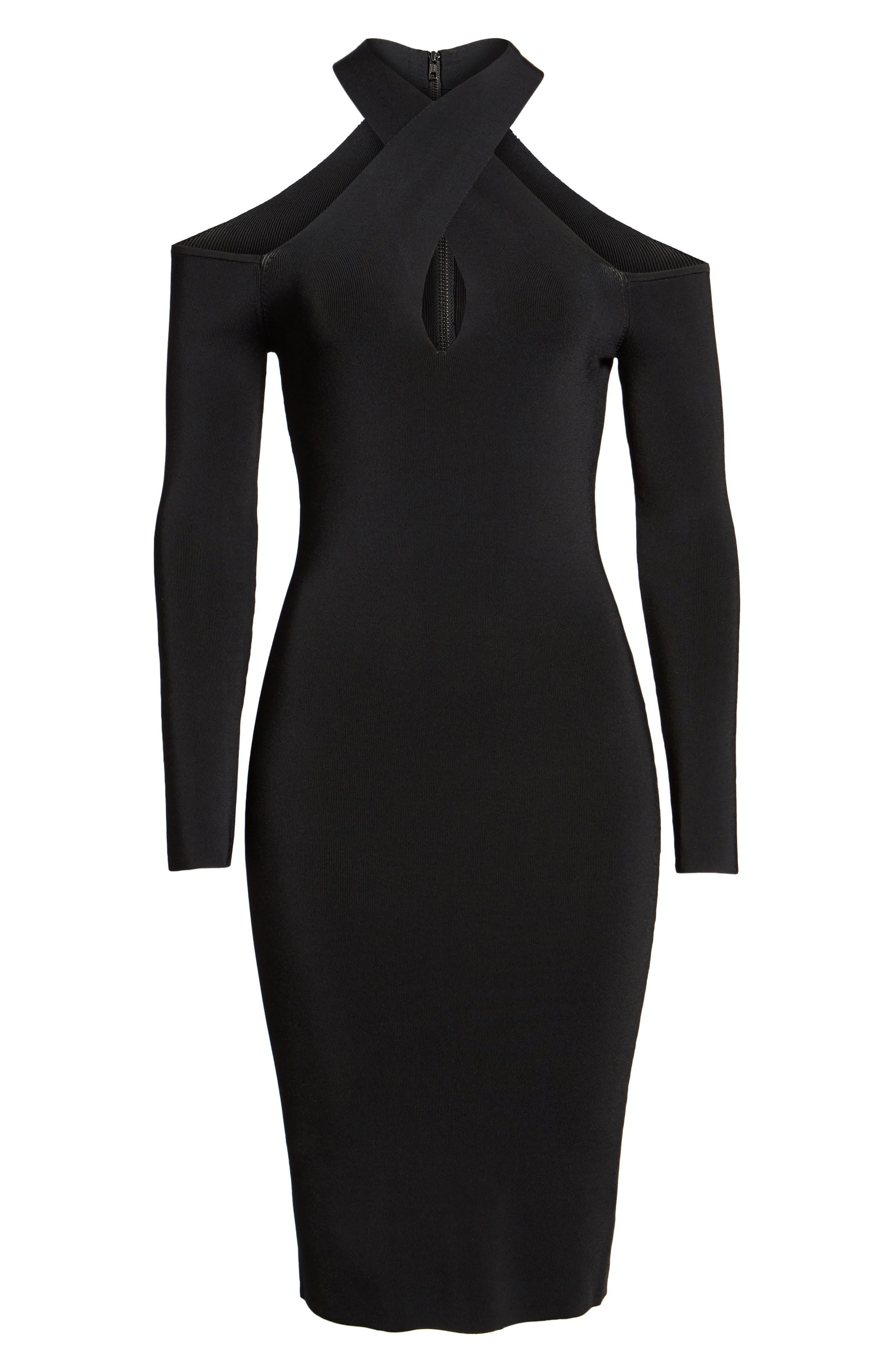 Halter Keyhole Sweater Dress,                             Alternate thumbnail 7, color,                             Black