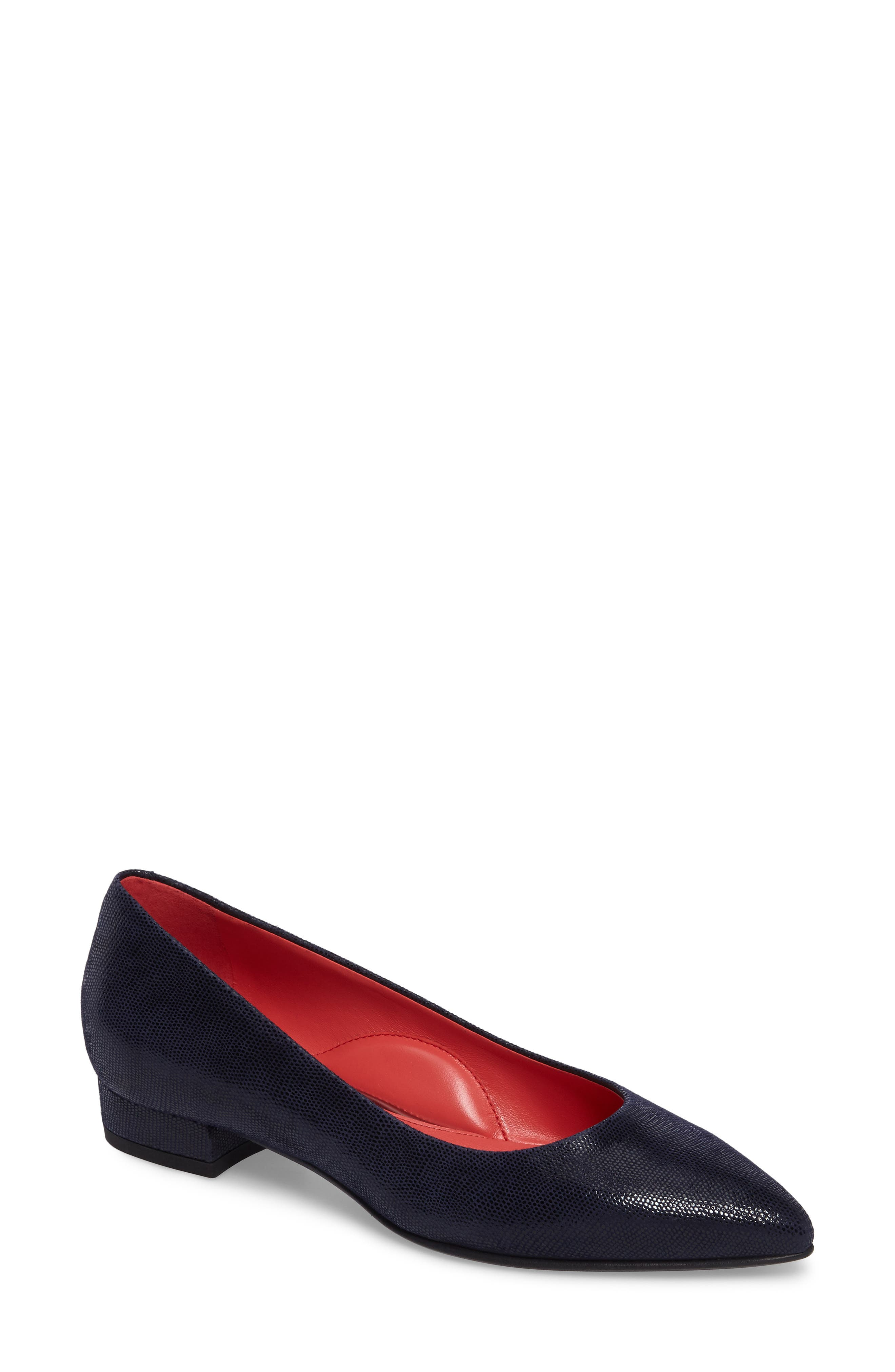 Pointy Toe Low Pump,                             Main thumbnail 1, color,                             Blue Leather