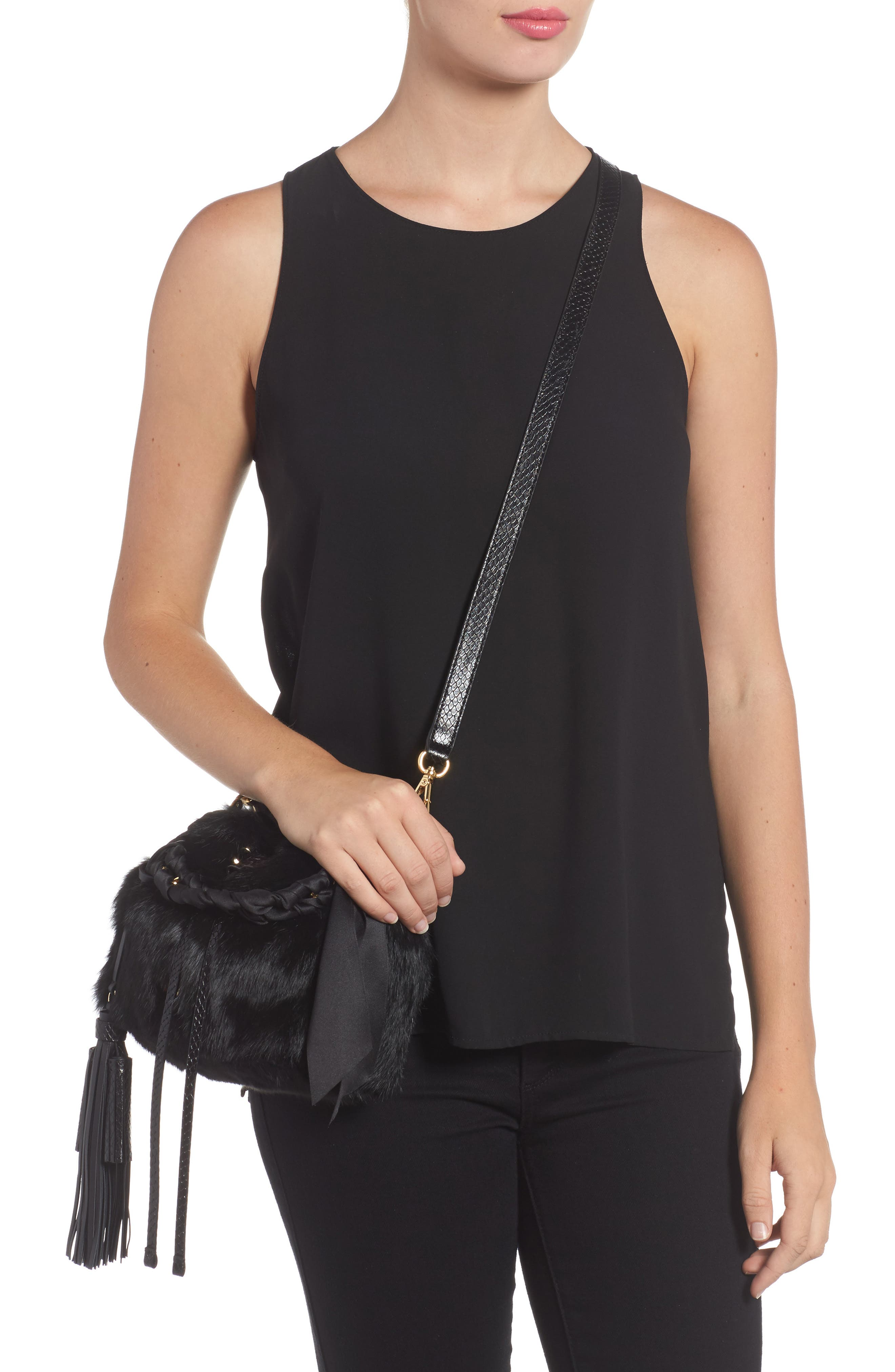 Small Genuine Rabbit Fur & Leather Bucket Bag,                             Alternate thumbnail 2, color,                             Black