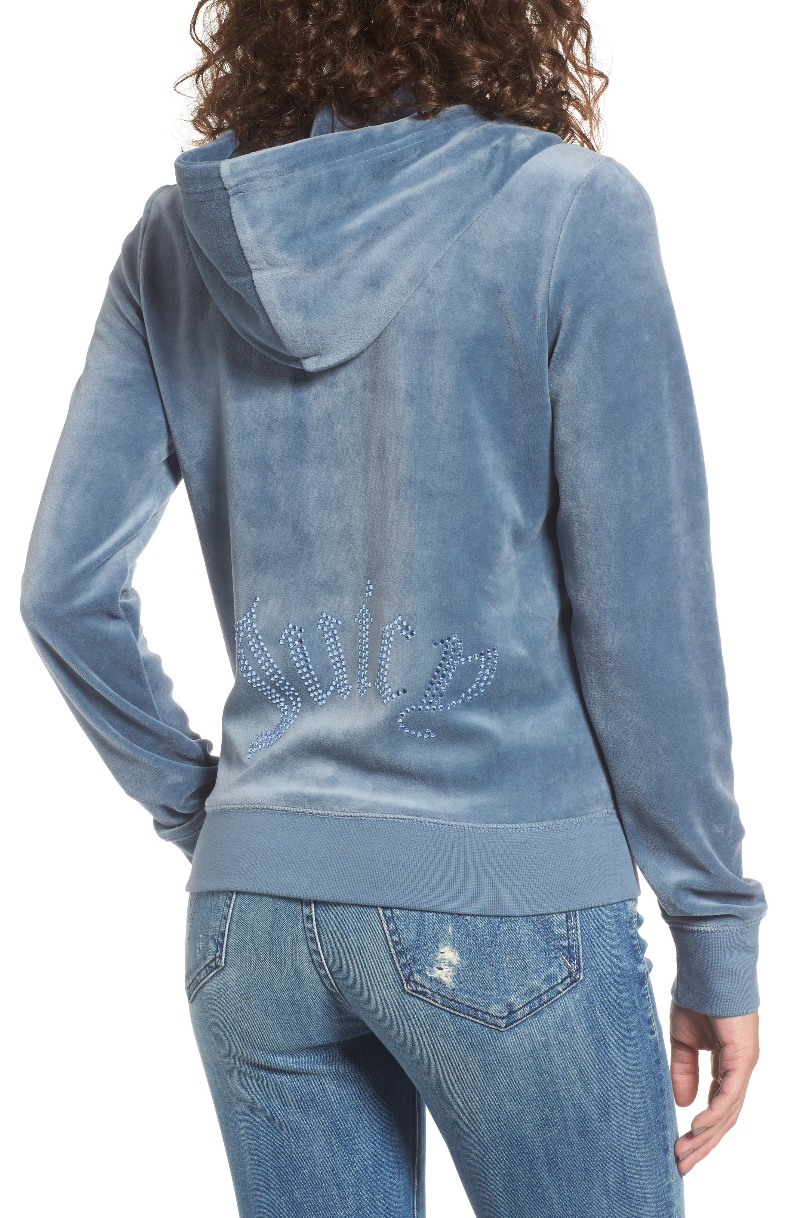 Robertson Crystal Velour Hoodie,                             Alternate thumbnail 2, color,                             Dusty Navy