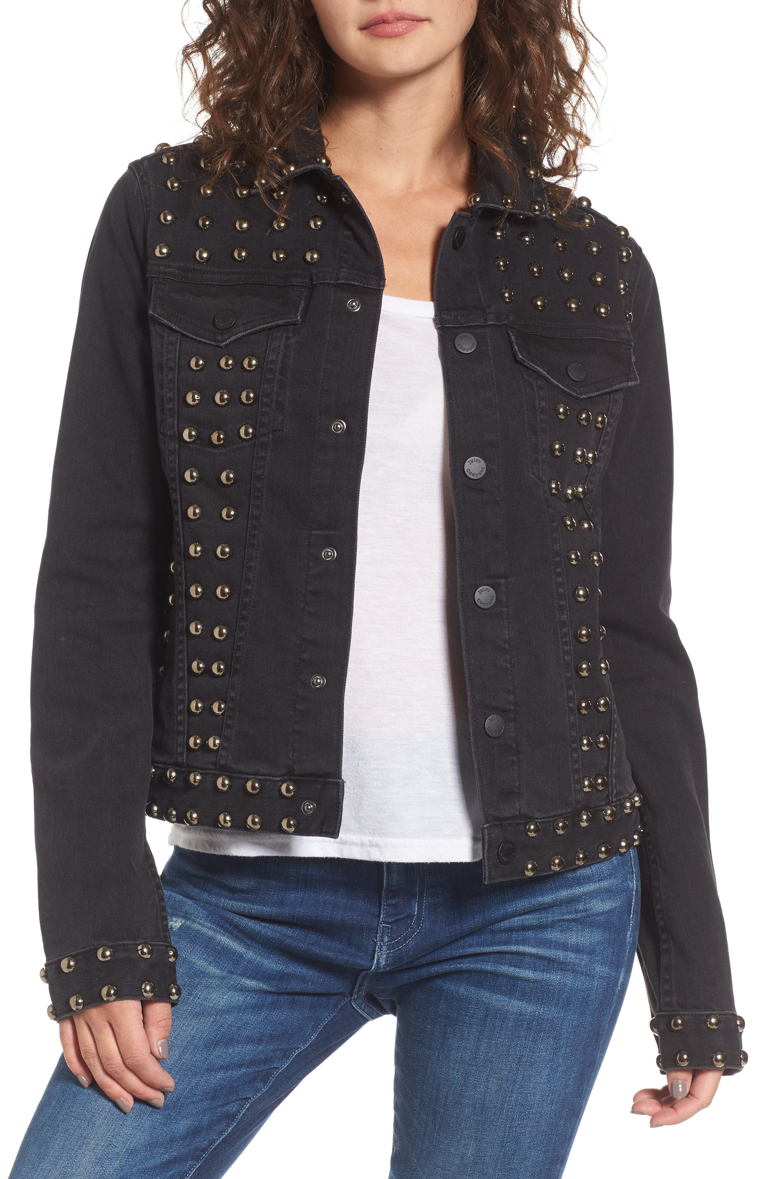 Studded Denim Jacket,                             Main thumbnail 1, color,                             Ebony Wash