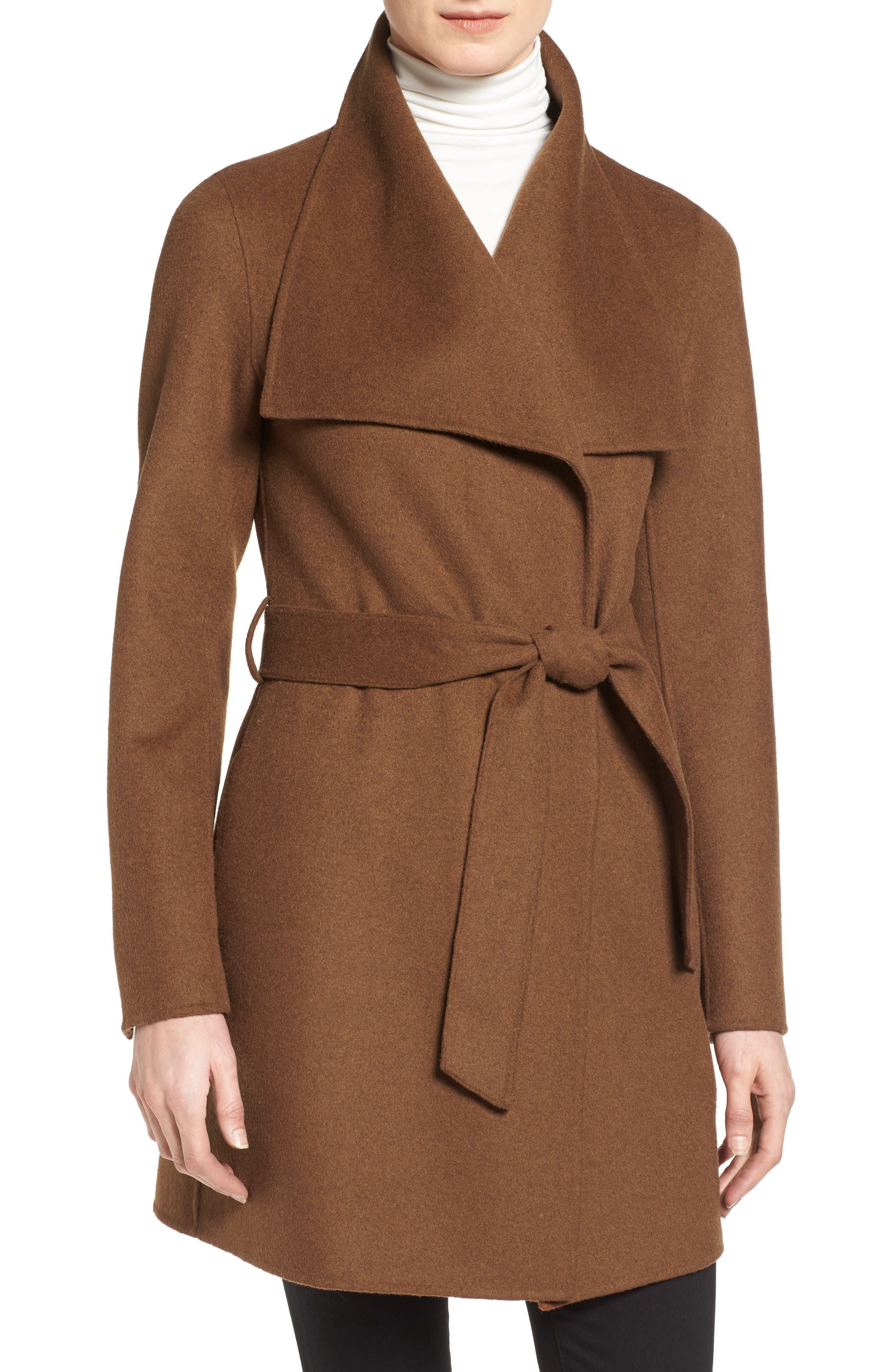 'Ella' Belted Double Face Wool Blend Wrap Coat,                         Main,                         color, Vicuna