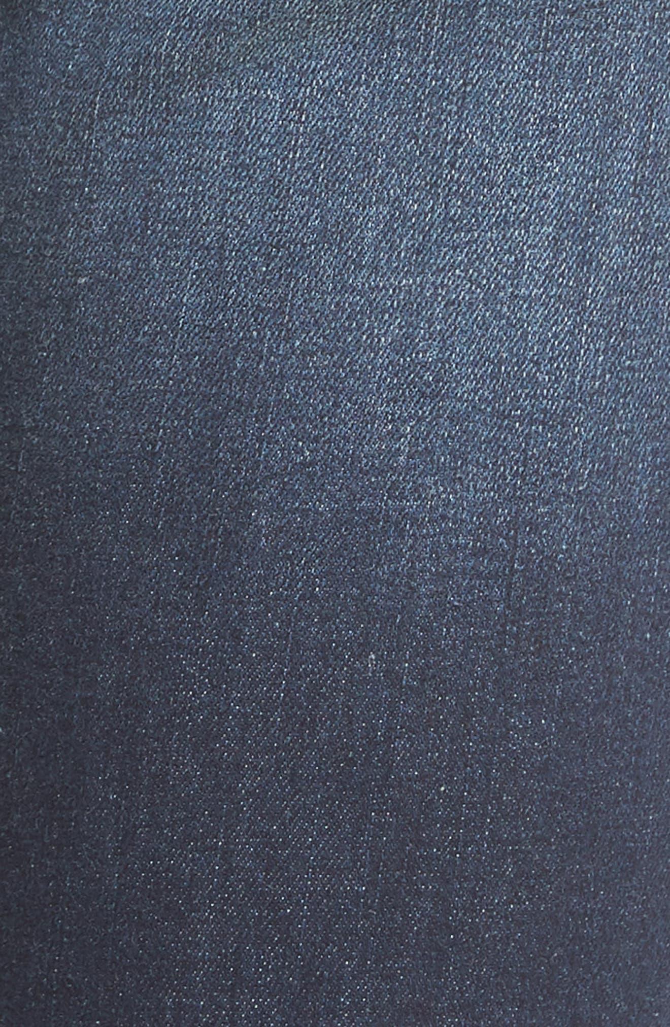 Roll Cuff Skinny Jeans,                             Alternate thumbnail 5, color,                             Dark Wash