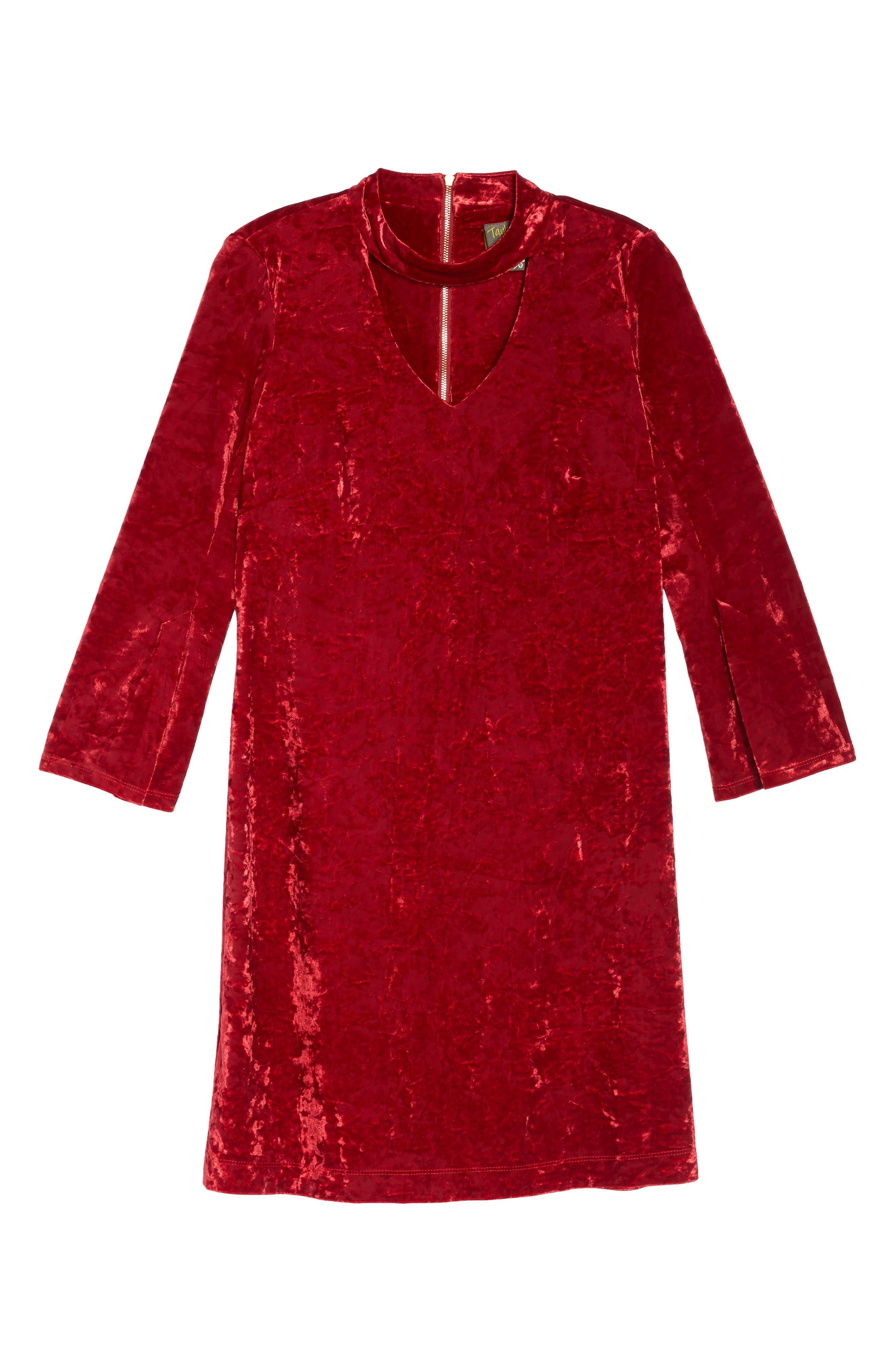 Crushed Velvet Choker Dress,                             Alternate thumbnail 5, color,                             Red