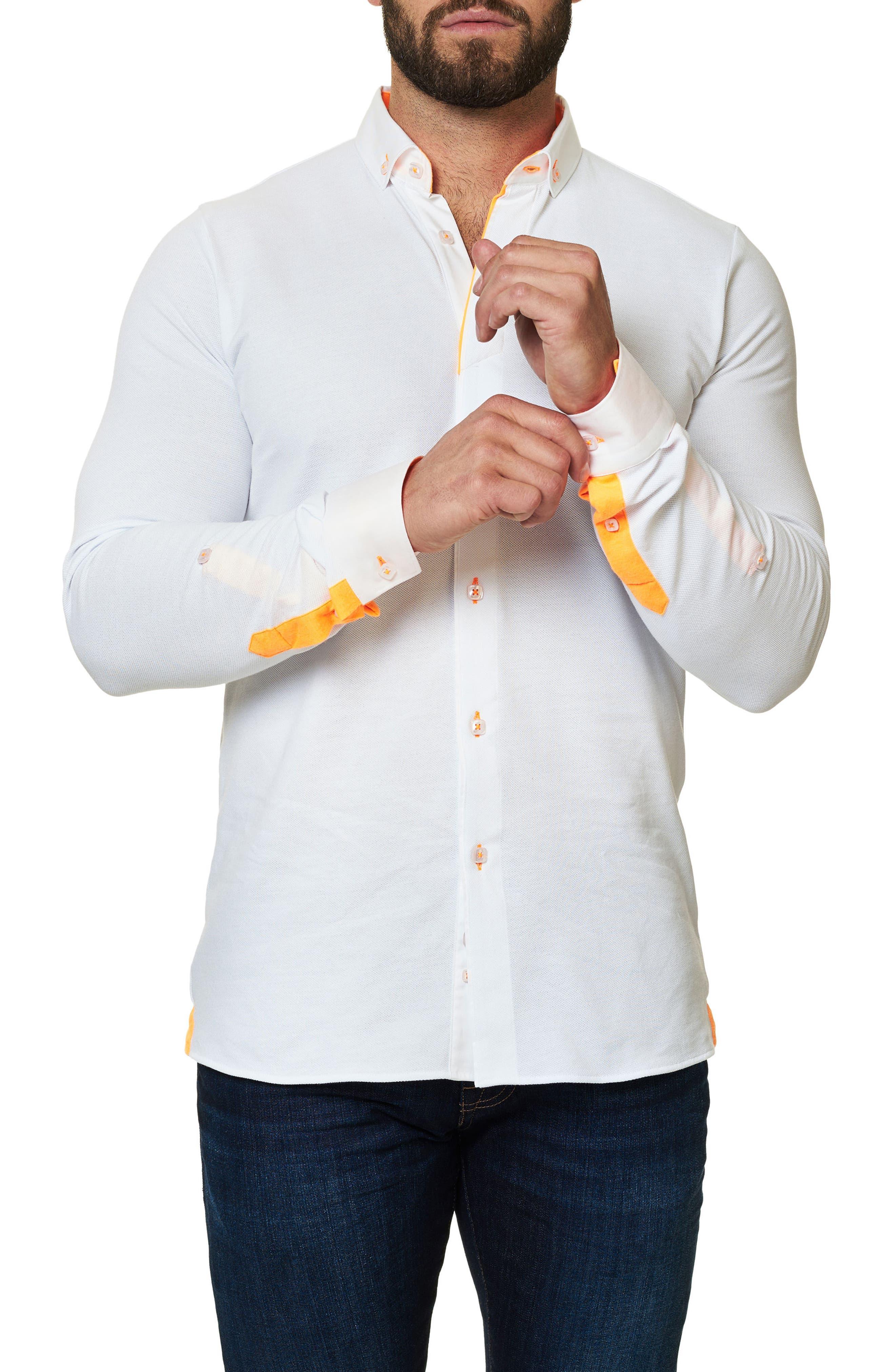 Long Sleeve Sport Shirt,                             Alternate thumbnail 4, color,                             Solid White