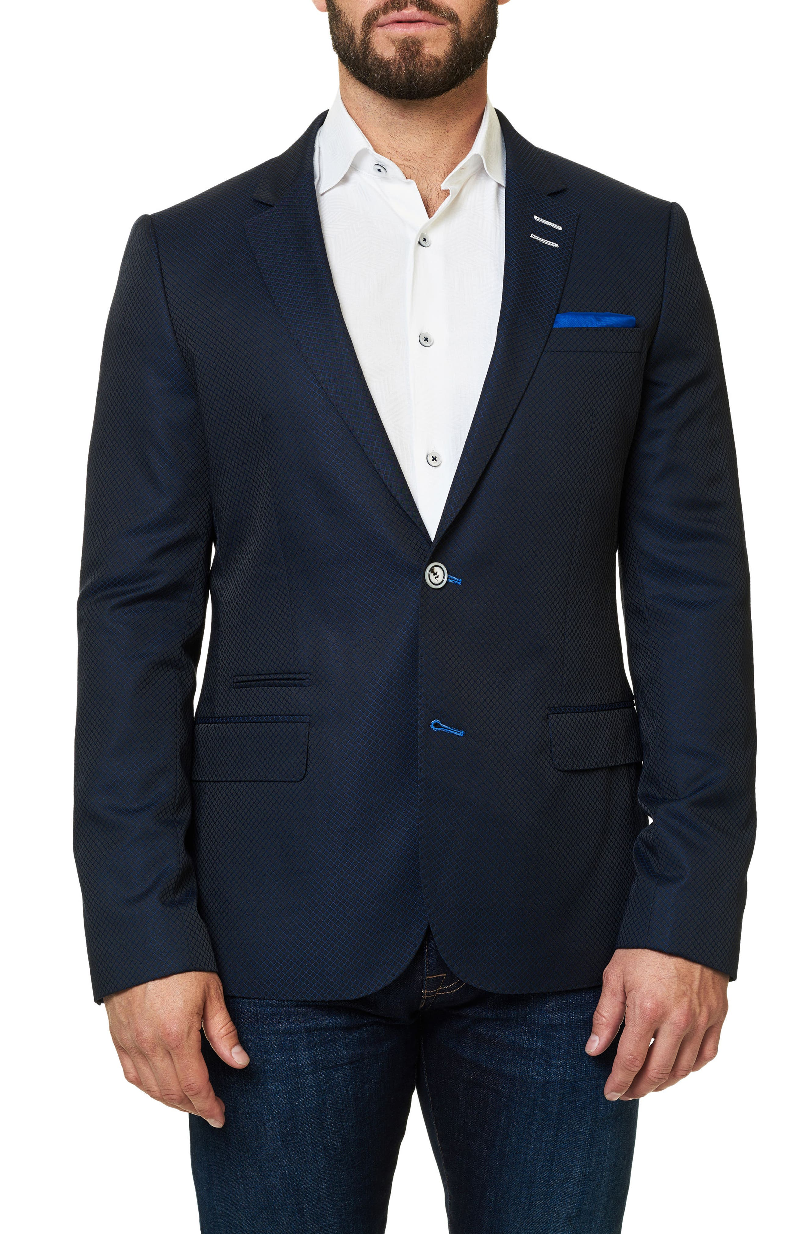 Socrate Grid Sport Coat,                         Main,                         color, Medium Blue