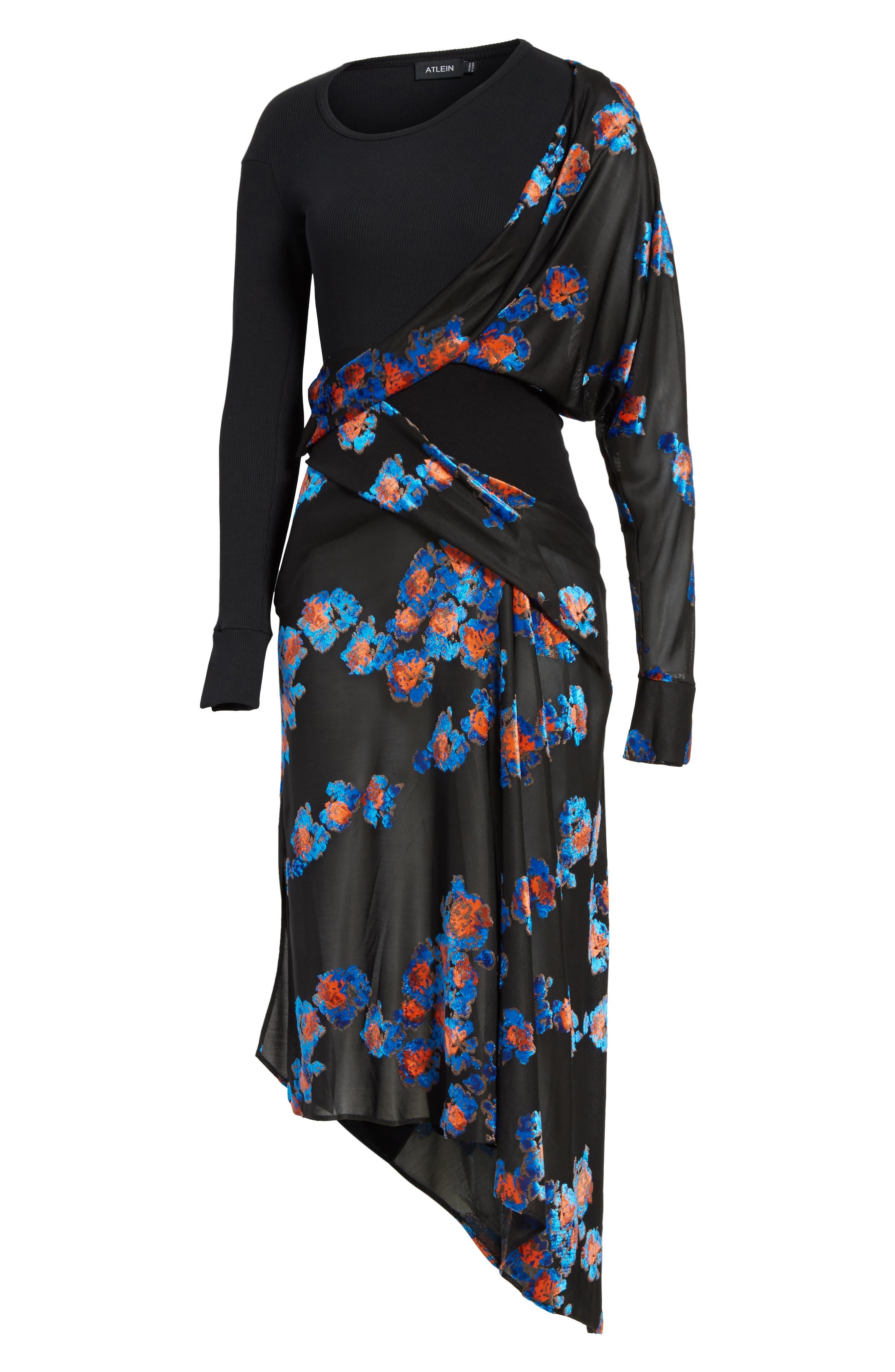 Jersey Jacquard Draped Maxi Dress,                             Alternate thumbnail 8, color,                             Black/ Black
