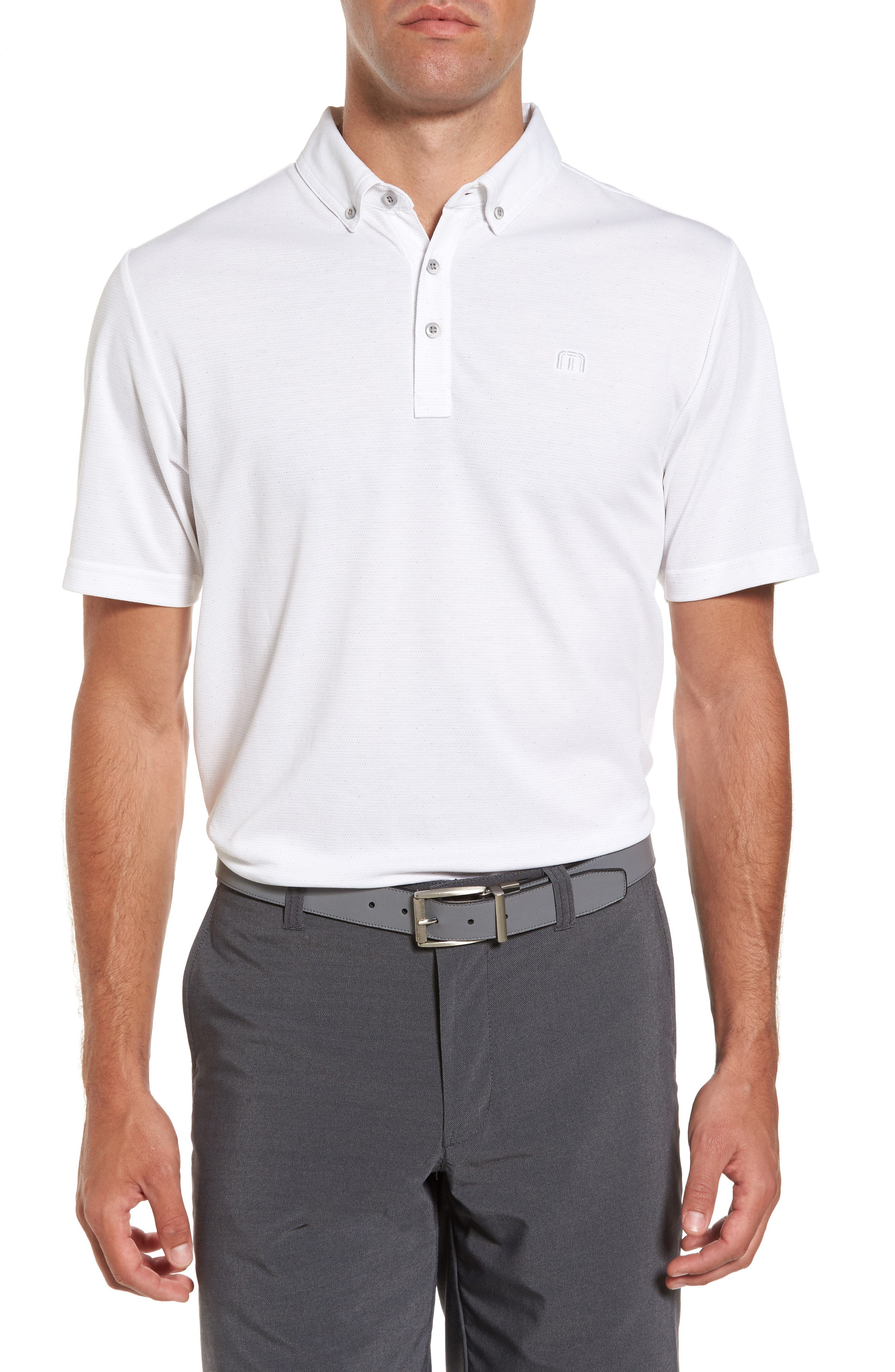 Stephen Dot Piqué Polo,                         Main,                         color, White
