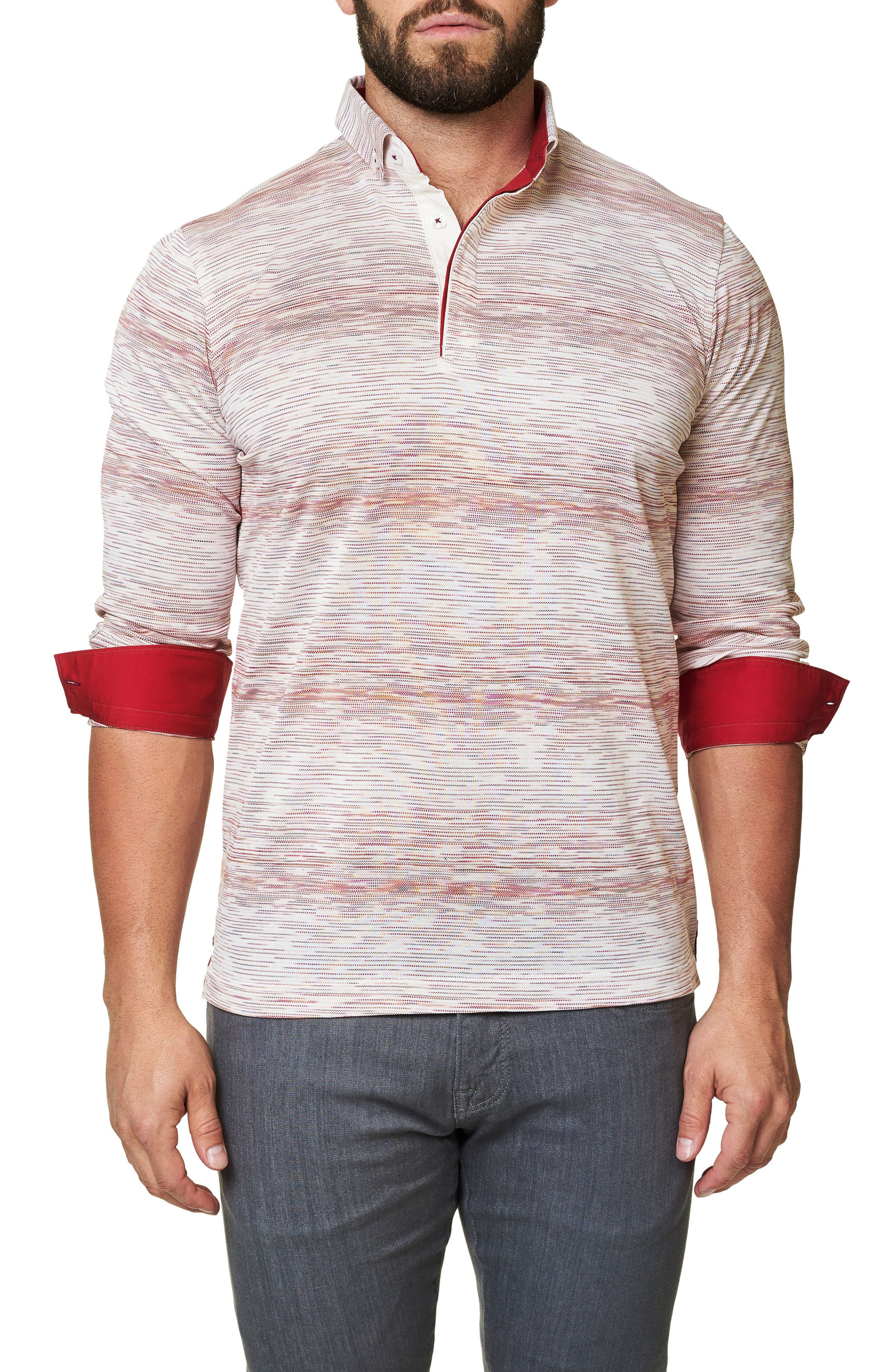 Stripe Long Sleeve Polo,                             Alternate thumbnail 4, color,                             Solid White