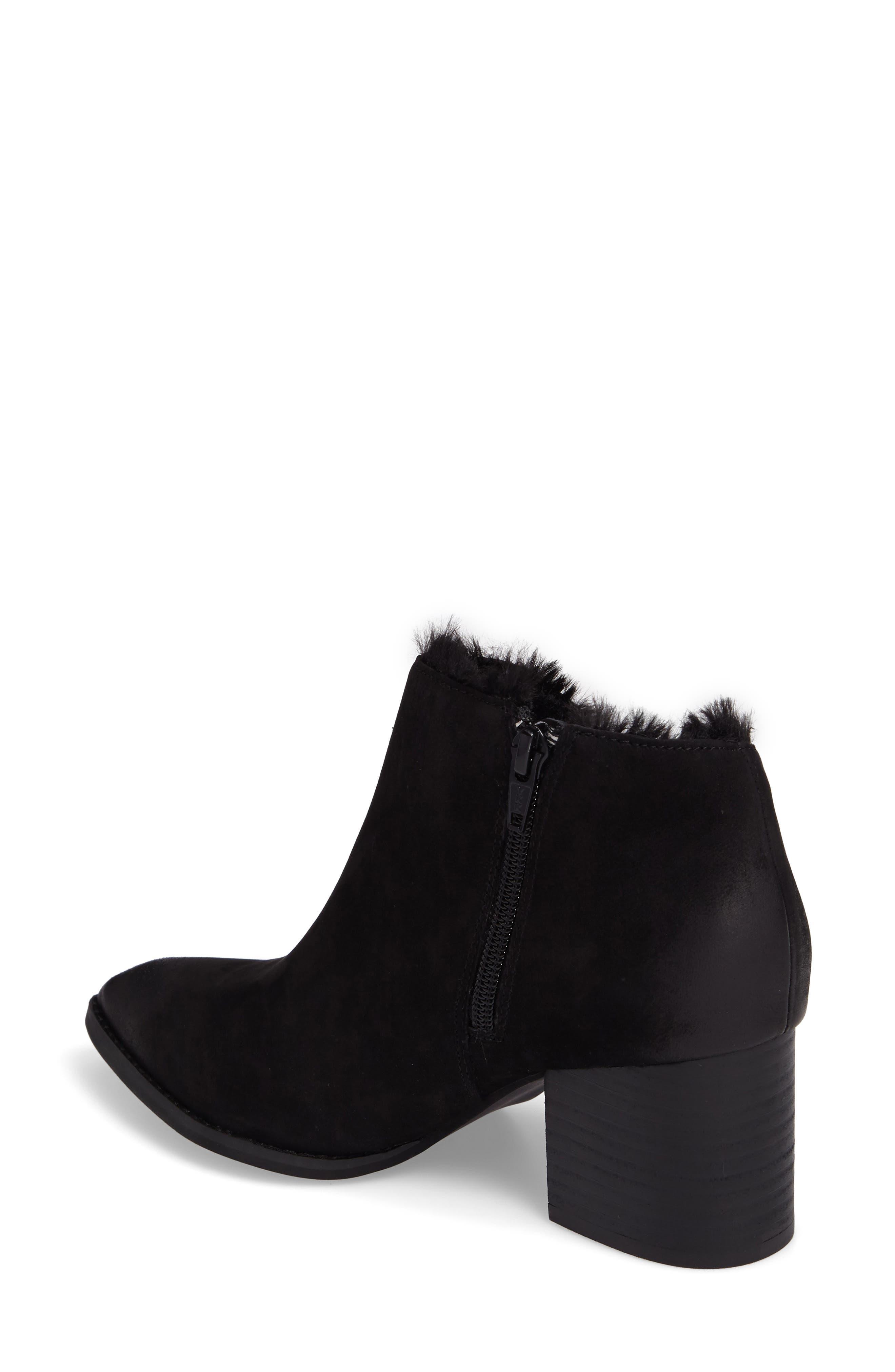 Preview Faux Fur Lined Bootie,                             Alternate thumbnail 2, color,                             Black Leather