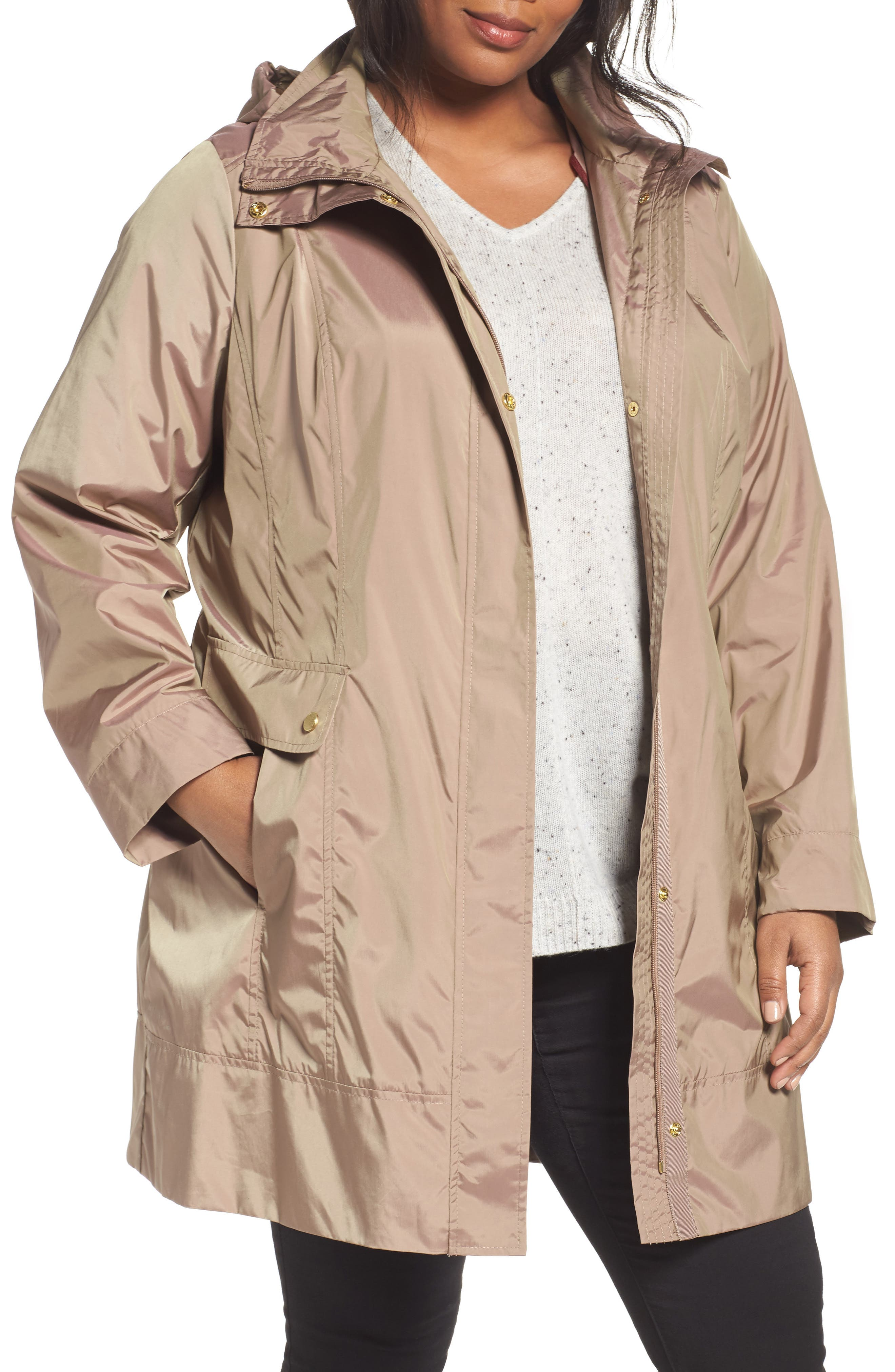 Cole Haan Water Resistant Rain Jacket,                         Main,                         color, Champagne