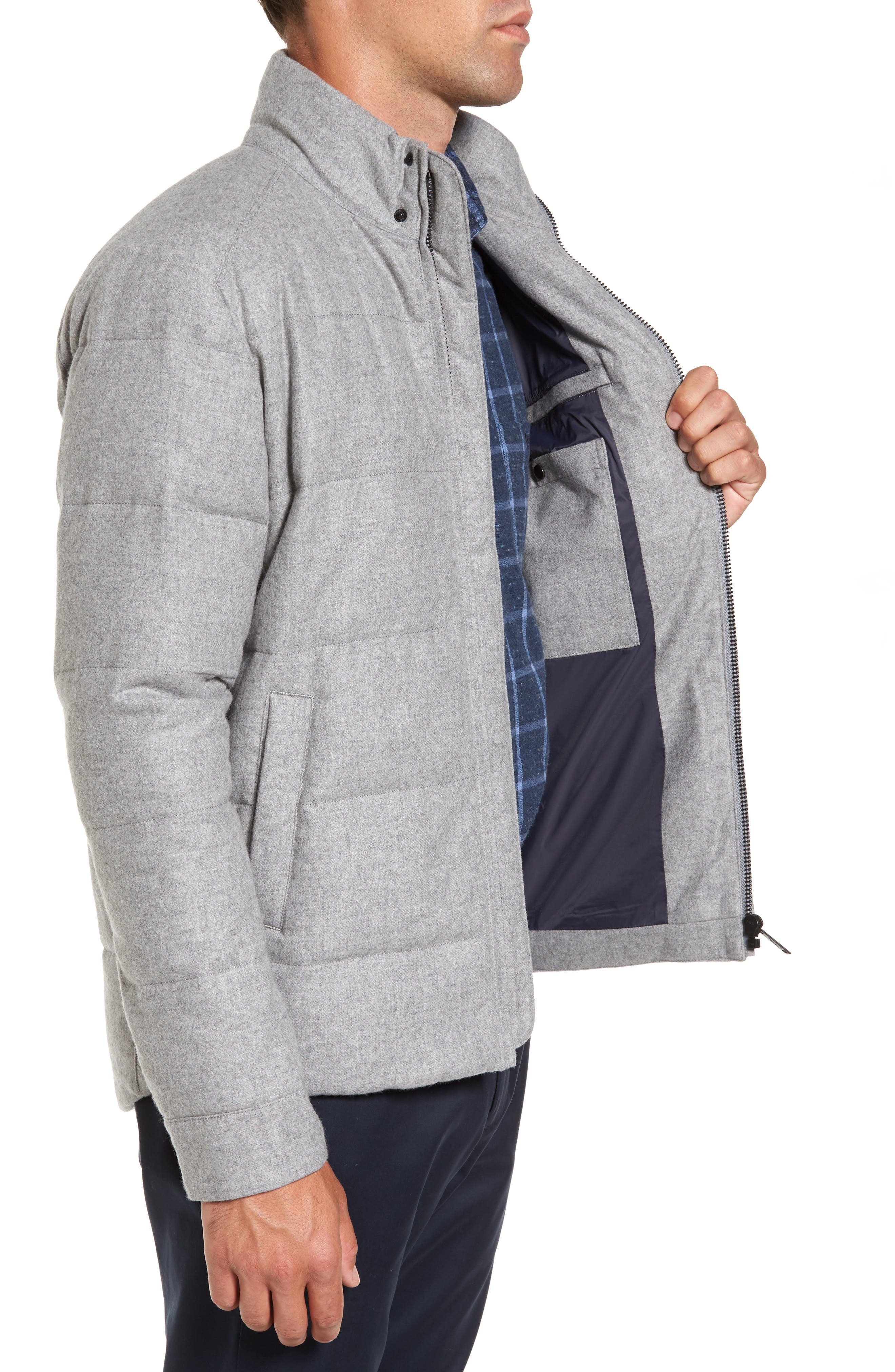 Boltons Water-Resistant Wool Down Jacket,                             Alternate thumbnail 3, color,                             Ash