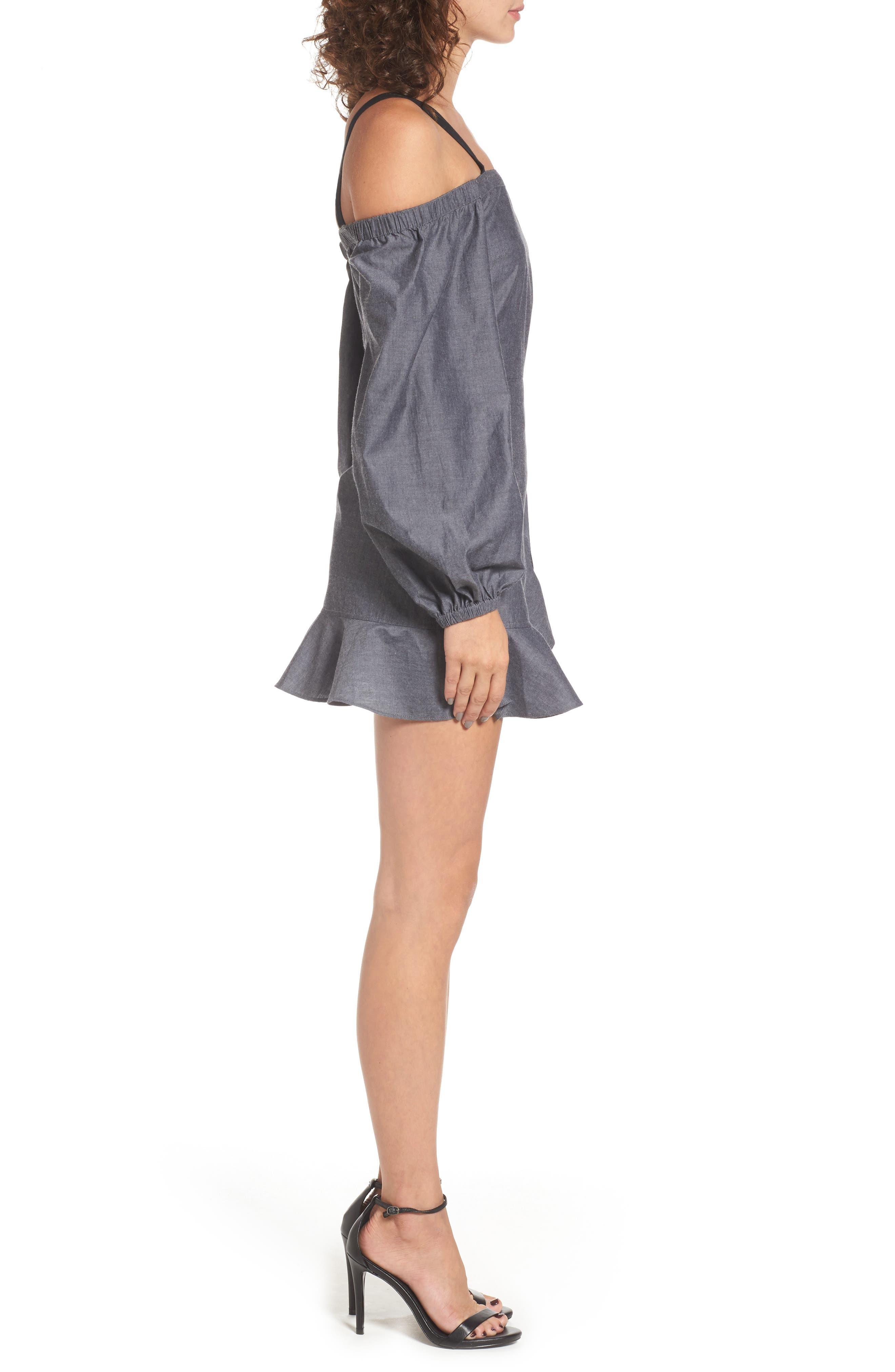 The Chance Off the Shoulder Minidress,                             Alternate thumbnail 3, color,                             Washed Black