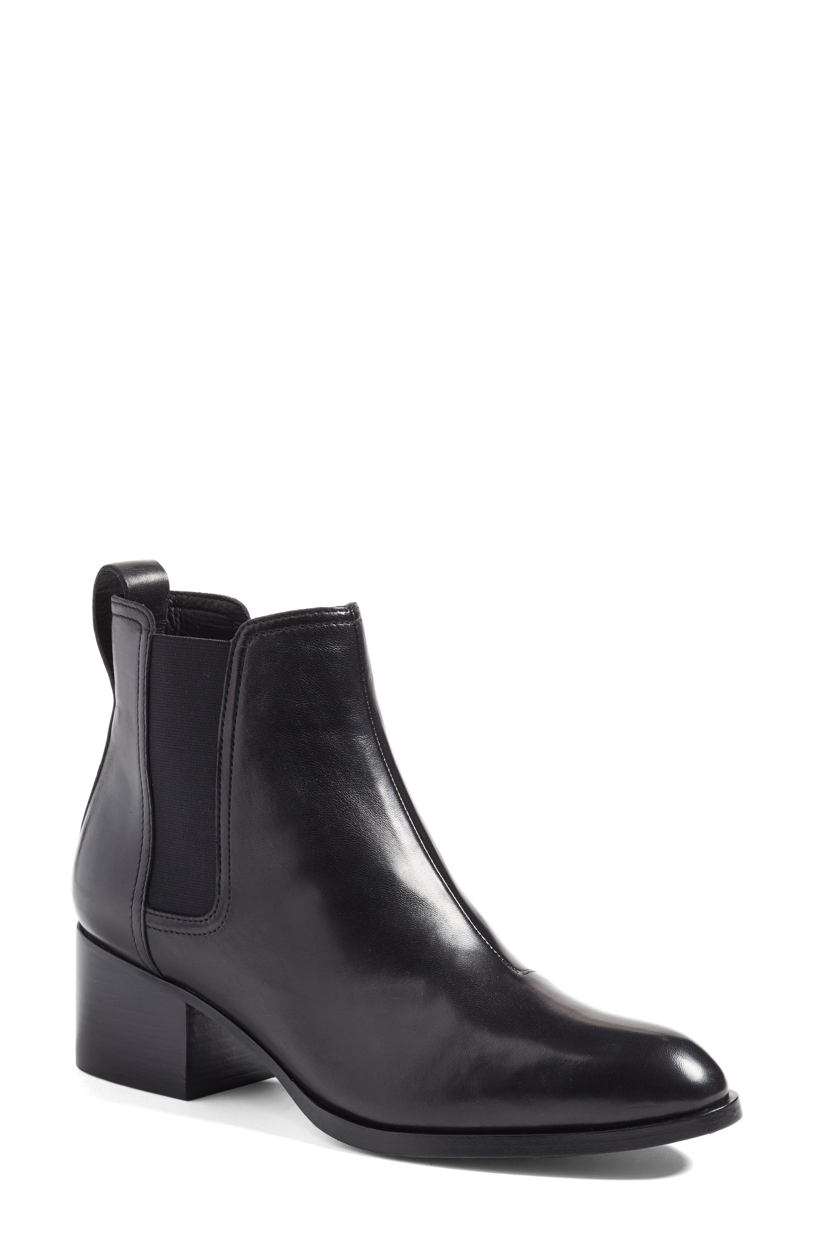 'Walker' Bootie,                         Main,                         color, Black Leather