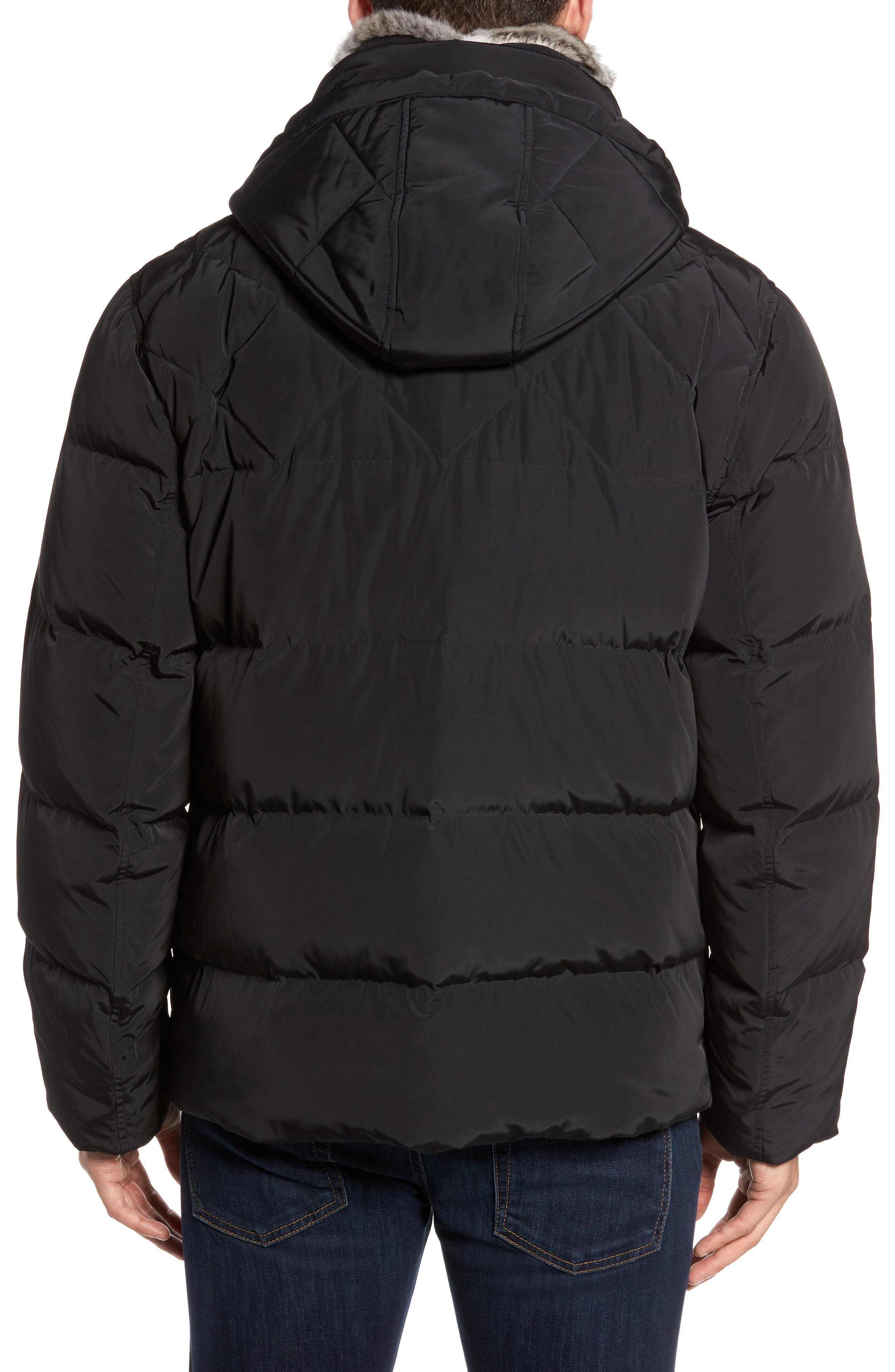 Navan Quilted Down Jacket with Genuine Rabbit Fur Trim,                             Alternate thumbnail 2, color,                             Black