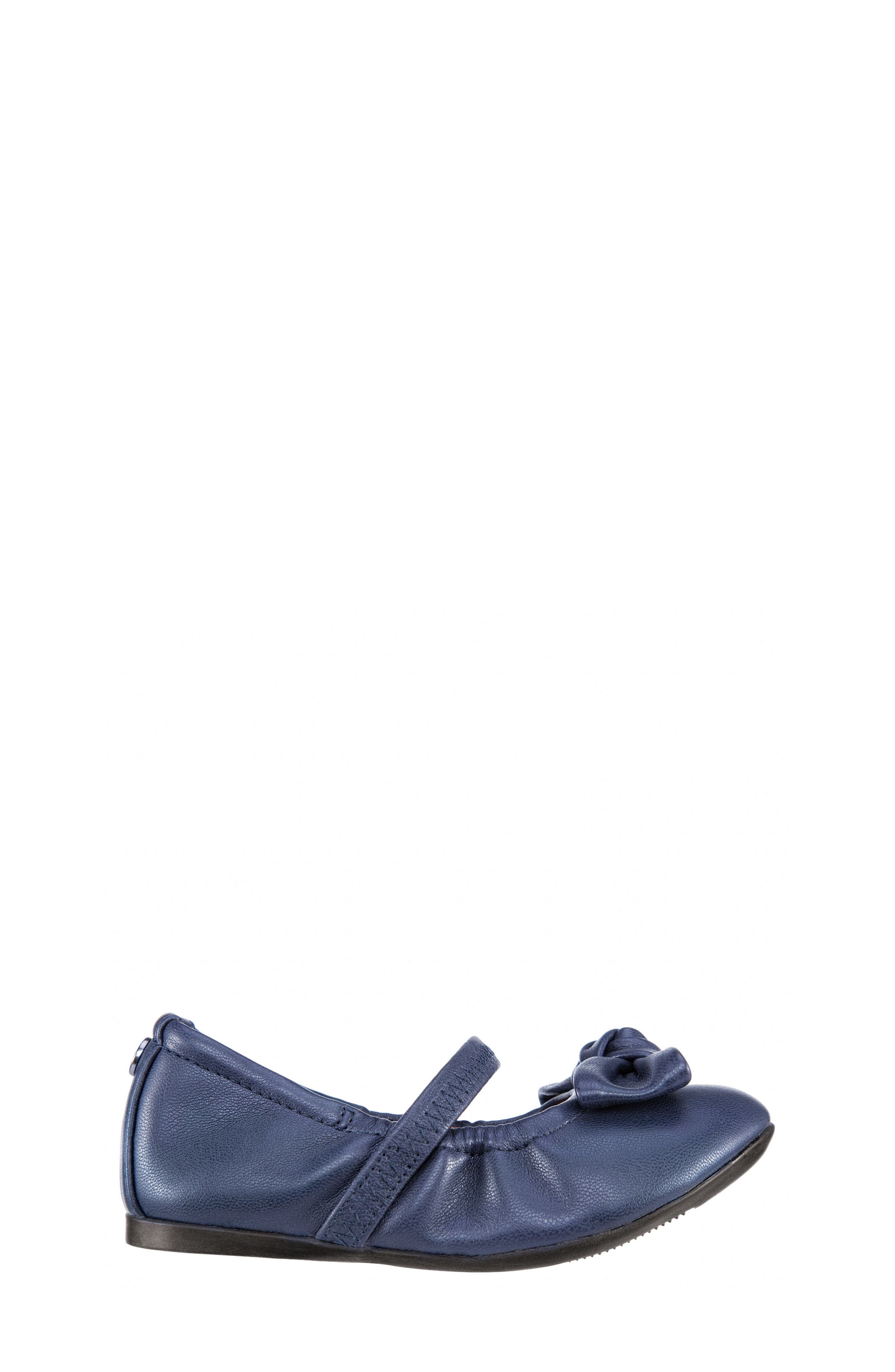 Karla Bow Ballet Flat,                             Alternate thumbnail 3, color,                             Navy Smooth Blue